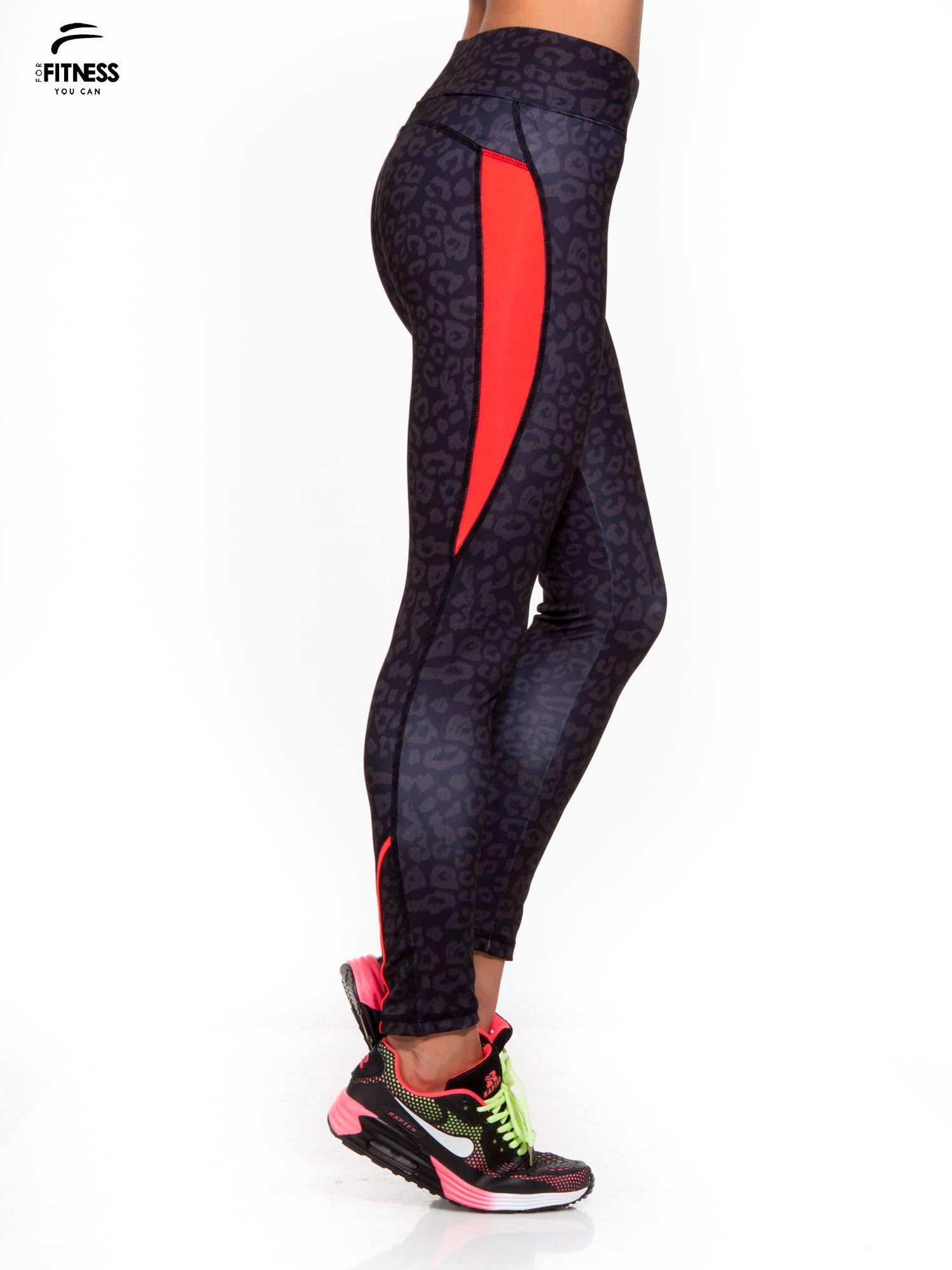 Czarne termoaktywne legginsy do biegania w panterkę z fluoróżowymi wstawkami po bokach ♦ Performance RUN                                  zdj.                                  3