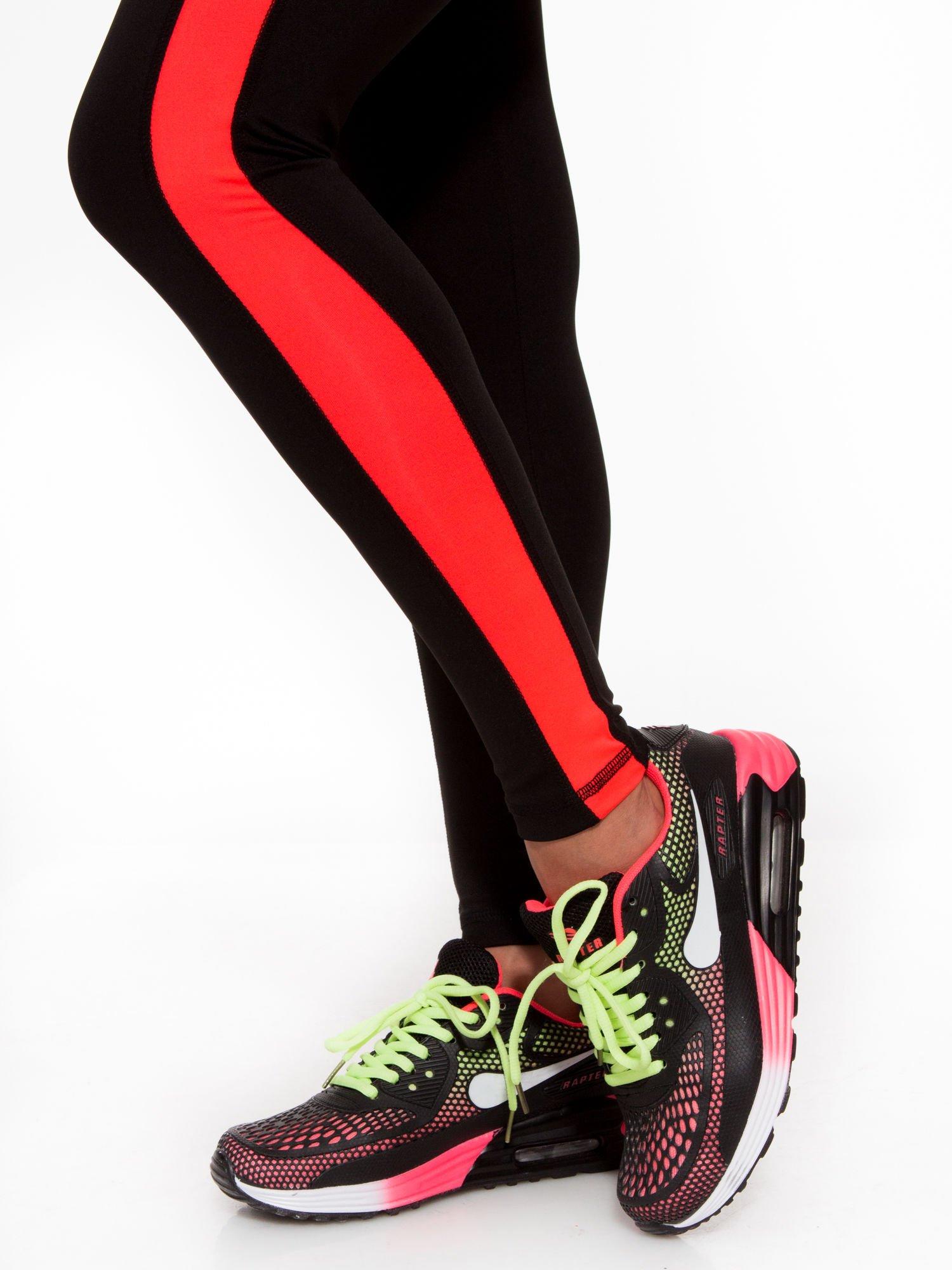 Czarne termoaktywne legginsy do biegania z fluoróżowymi lampasami ♦ Performance RUN                                  zdj.                                  9