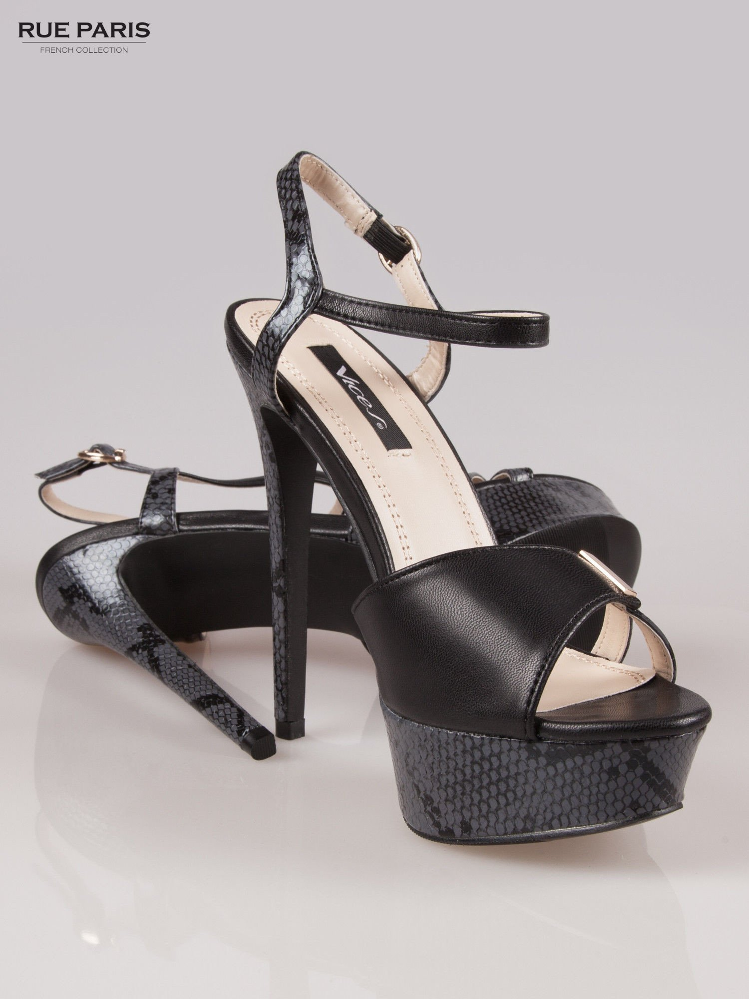 Czarne wężowe sandały na szpilce Amber zapinane na kostce                                  zdj.                                  4