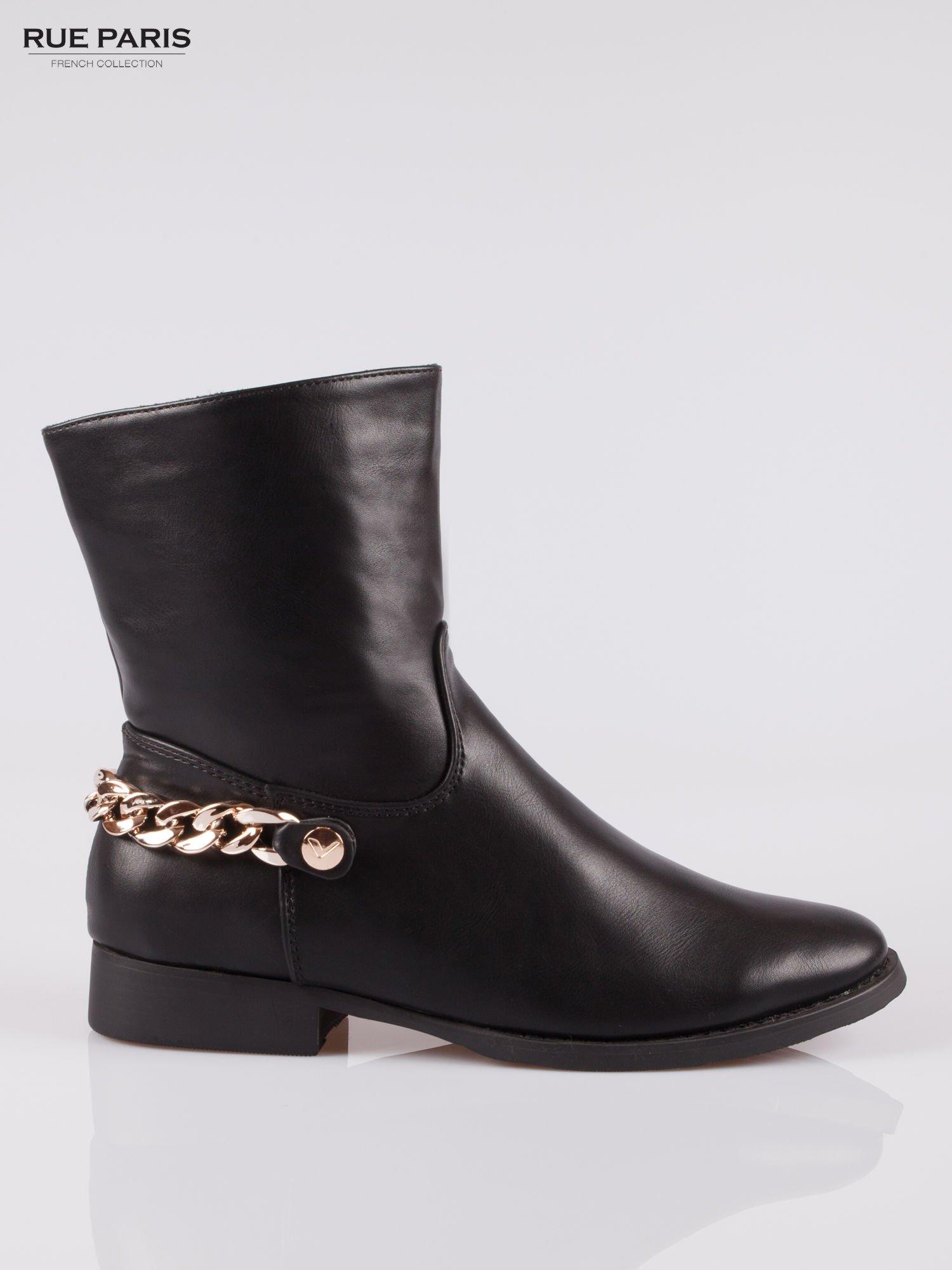 Czarne wysokie botki biker boots ze złotym łańcuchem z tyłu                                  zdj.                                  1