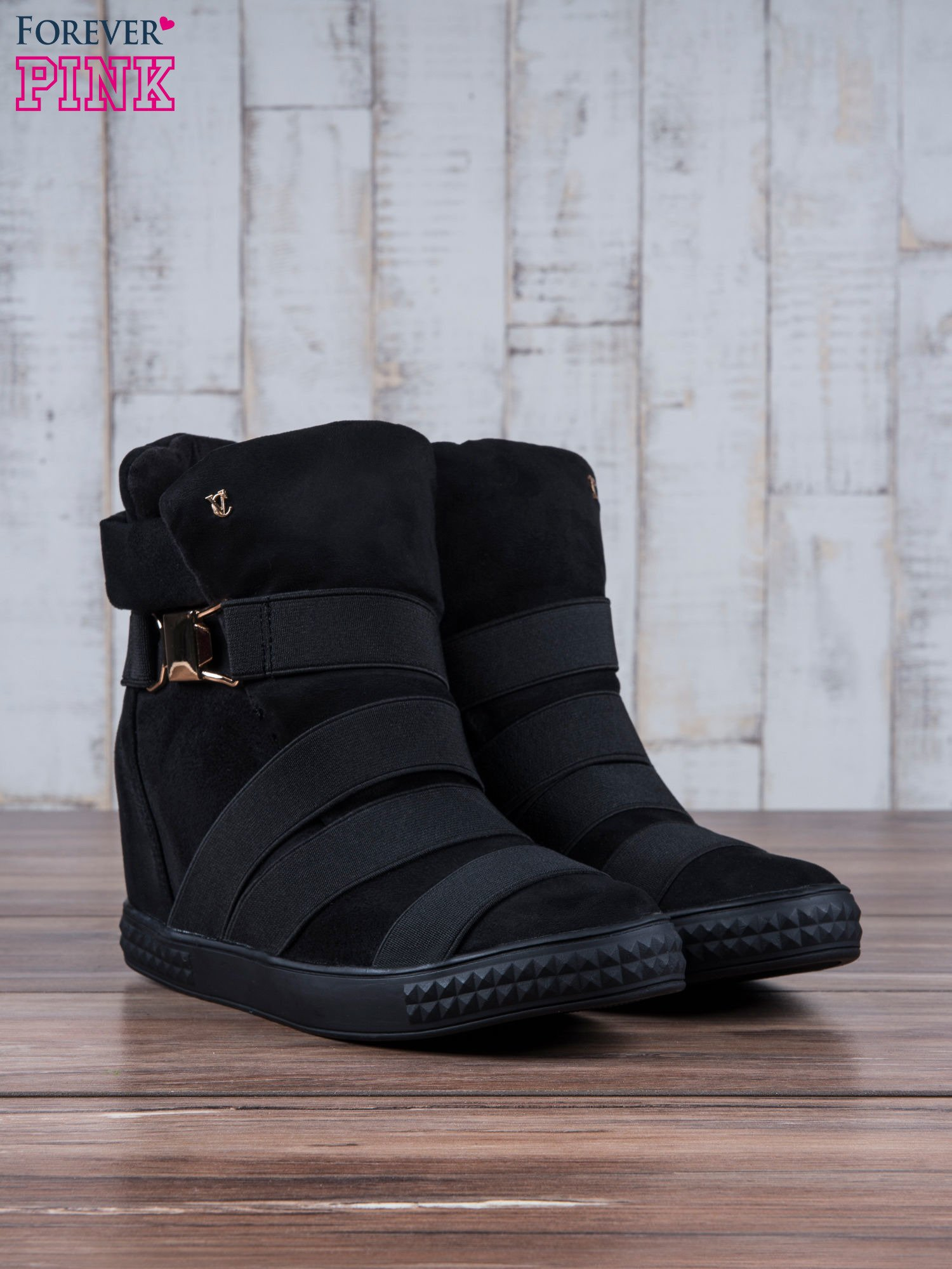 Czarne zamszowe sneakersy bandage z klamerką Lucky                                  zdj.                                  4