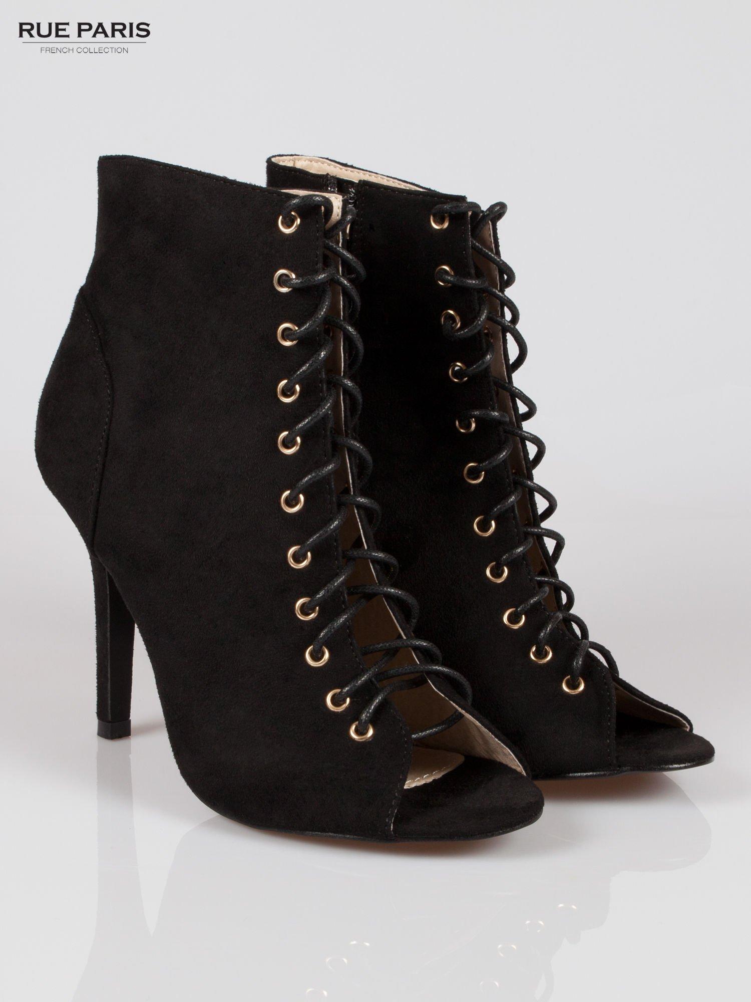 57720292ed14d7 Czarne zamszowe sznurowane botki lace up - Buty Botki średnie ...