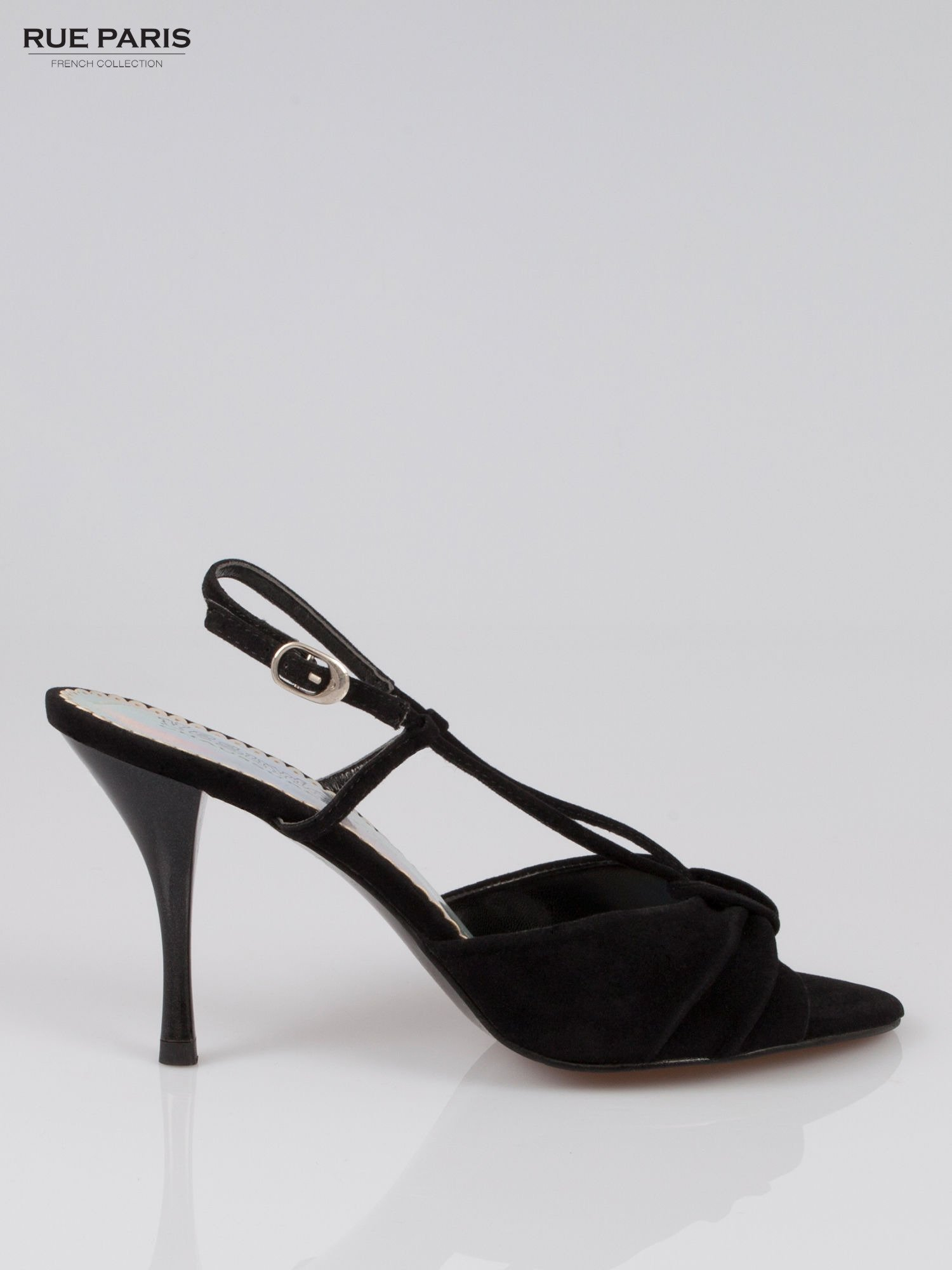 Czarne zamszowe szpilki faux suede                                  zdj.                                  1