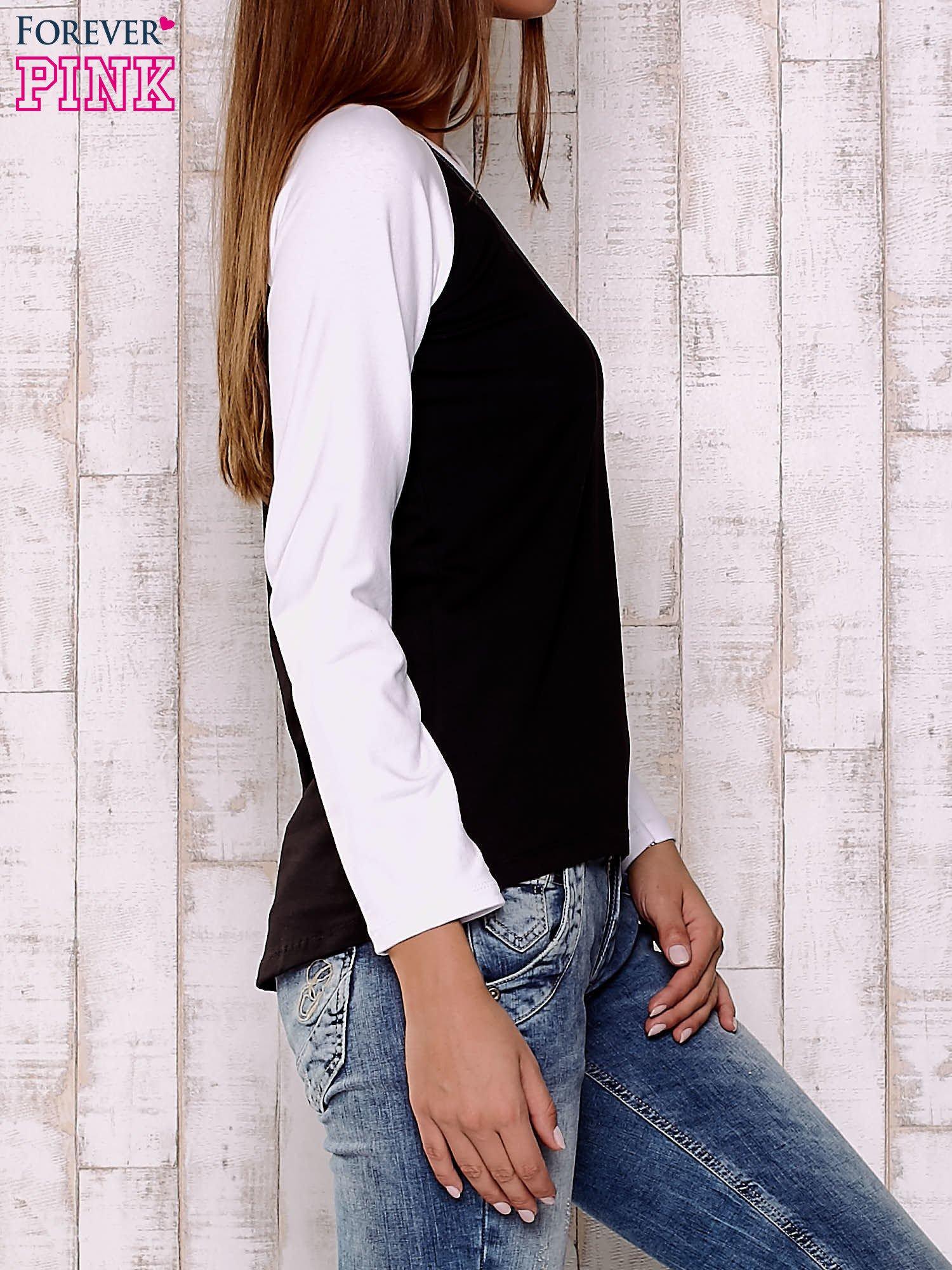 Czarno-biała gładka bluza                                  zdj.                                  3