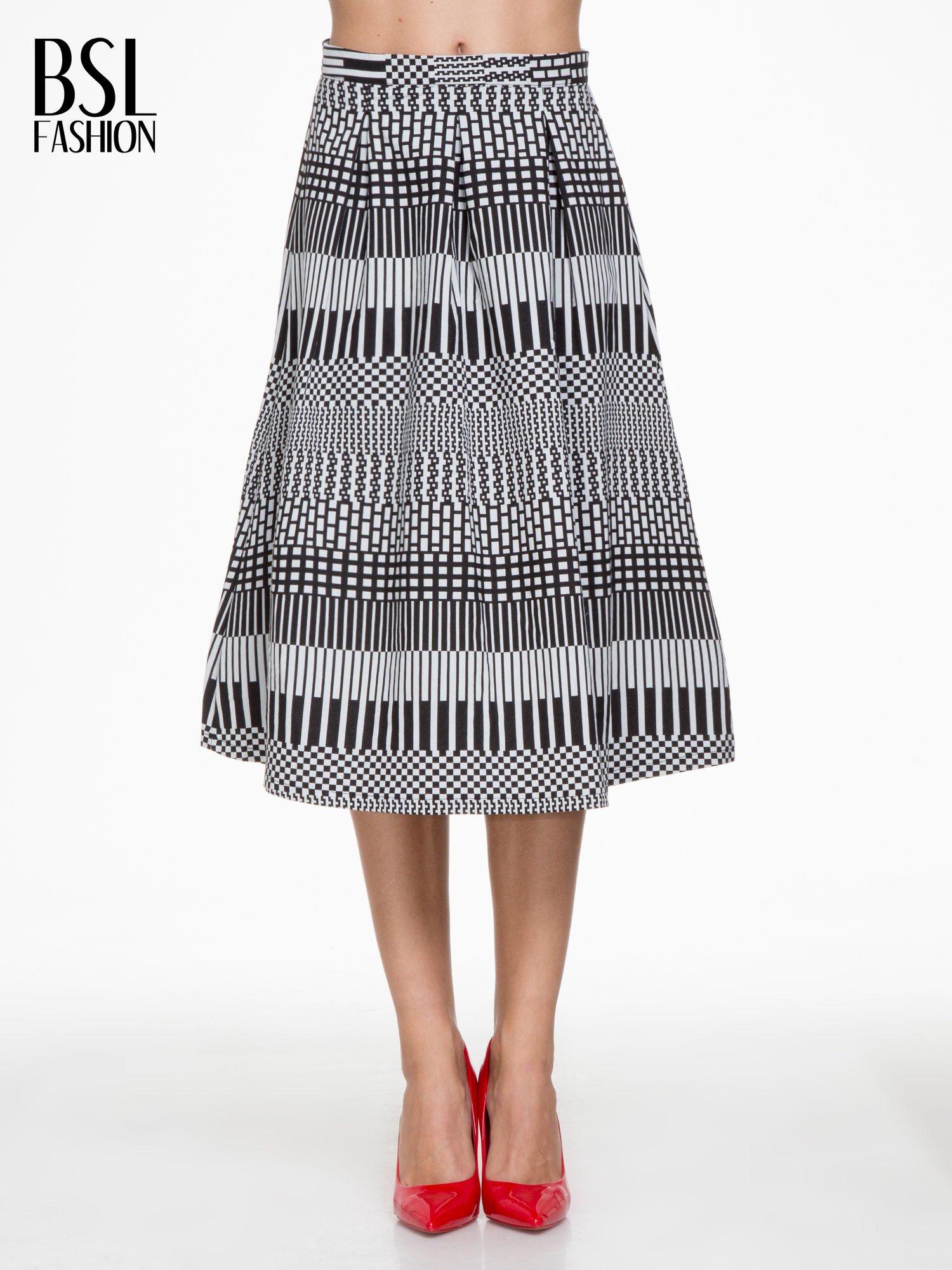 Czarno-biała spódnica midi w geometryczny wzór II                                  zdj.                                  1