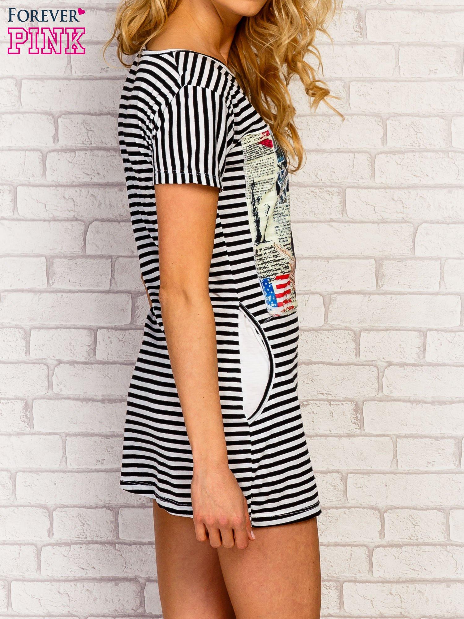 Czarno-biała sukienka w paski z nadrukiem rockowym                                  zdj.                                  3