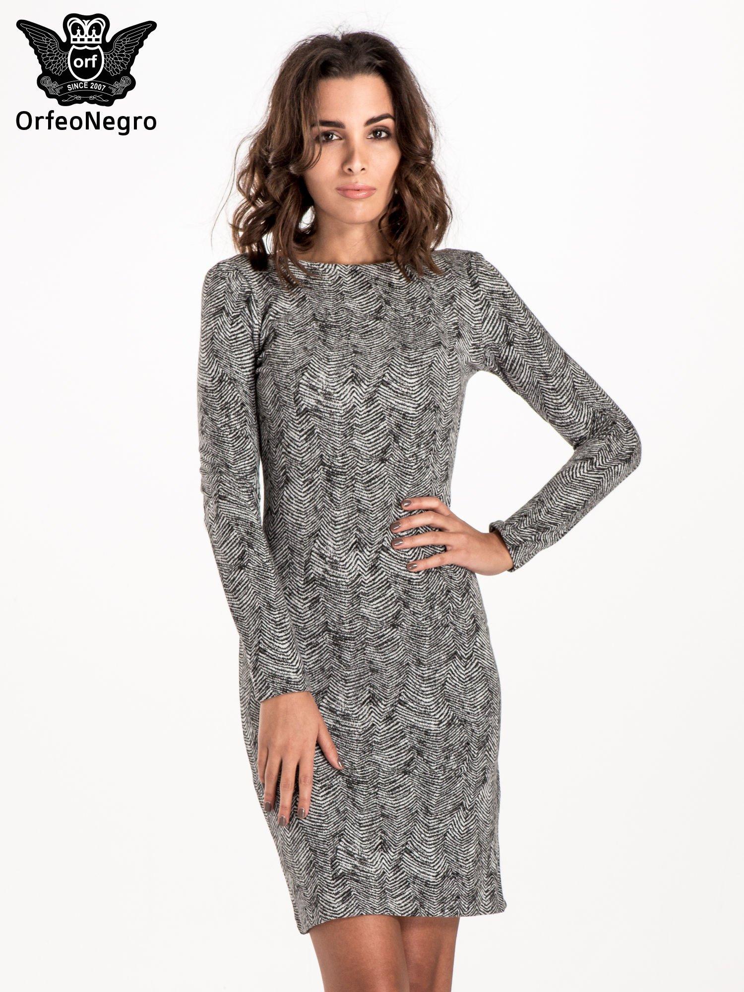 Czarno-biała sukienka z dekoltem z tyłu                                  zdj.                                  1