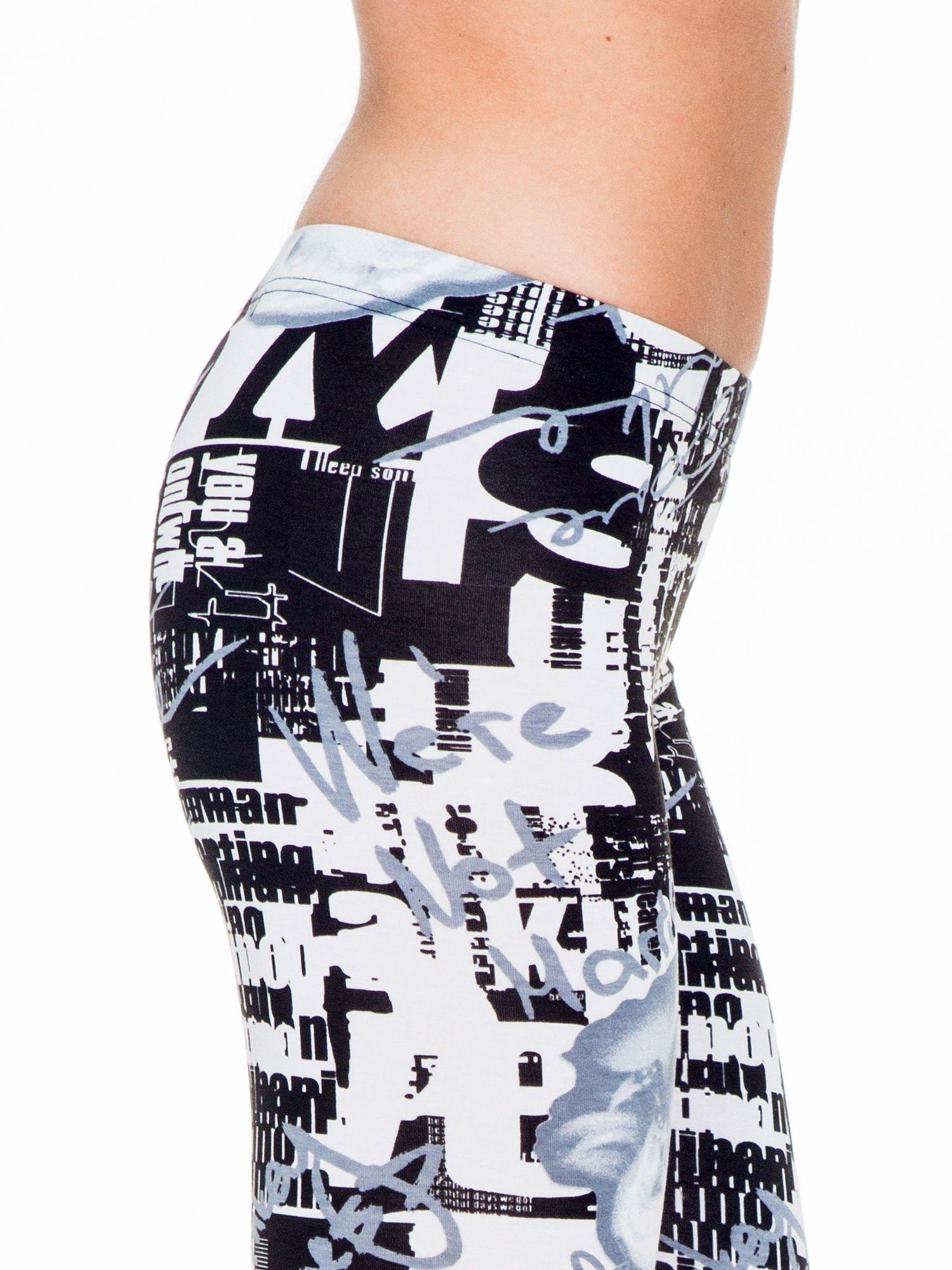 Czarno-białe legginsy z nadrukiem Marilyn Monroe                                  zdj.                                  5