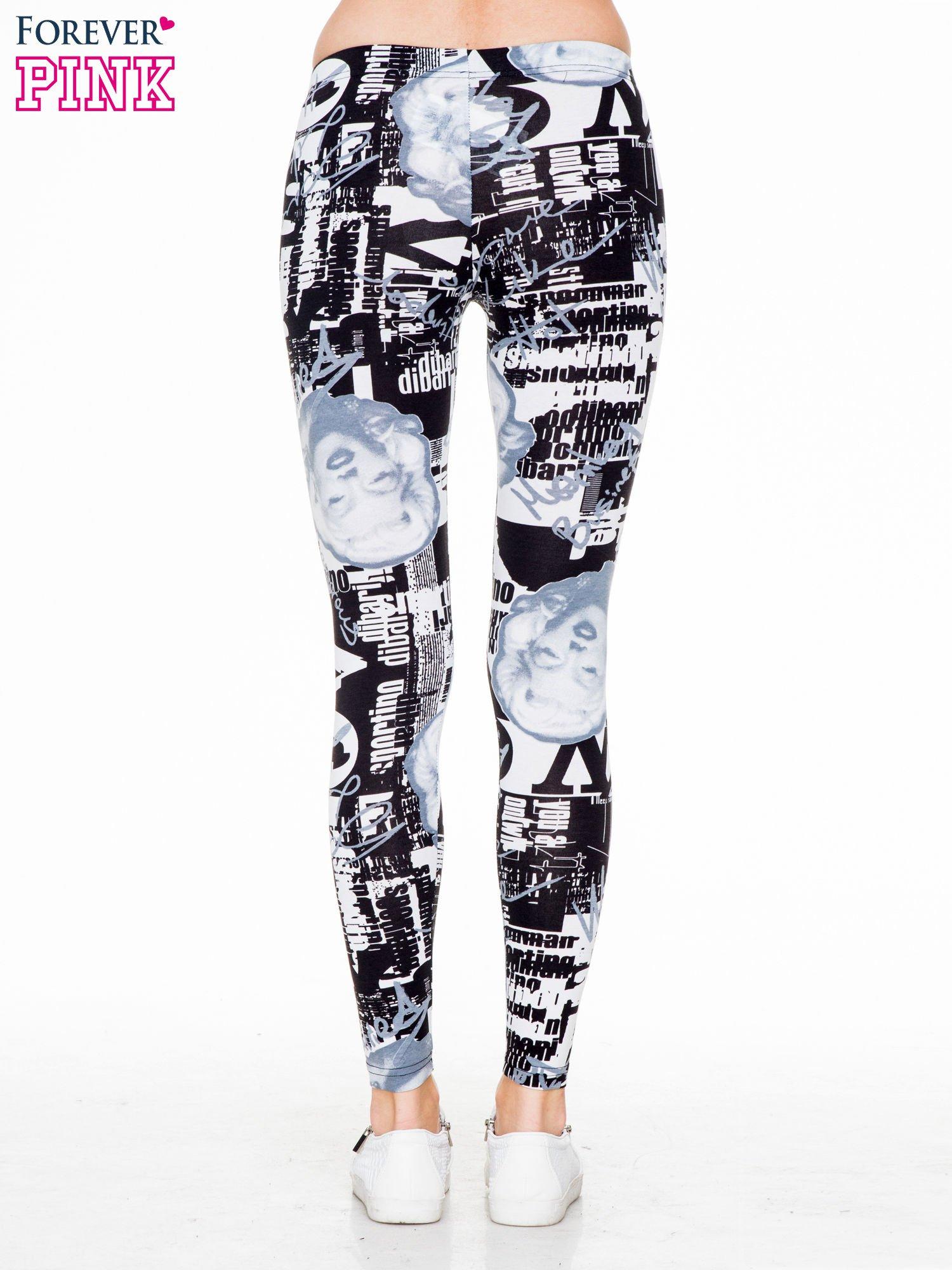 Czarno-białe legginsy z nadrukiem Marilyn Monroe                                  zdj.                                  4