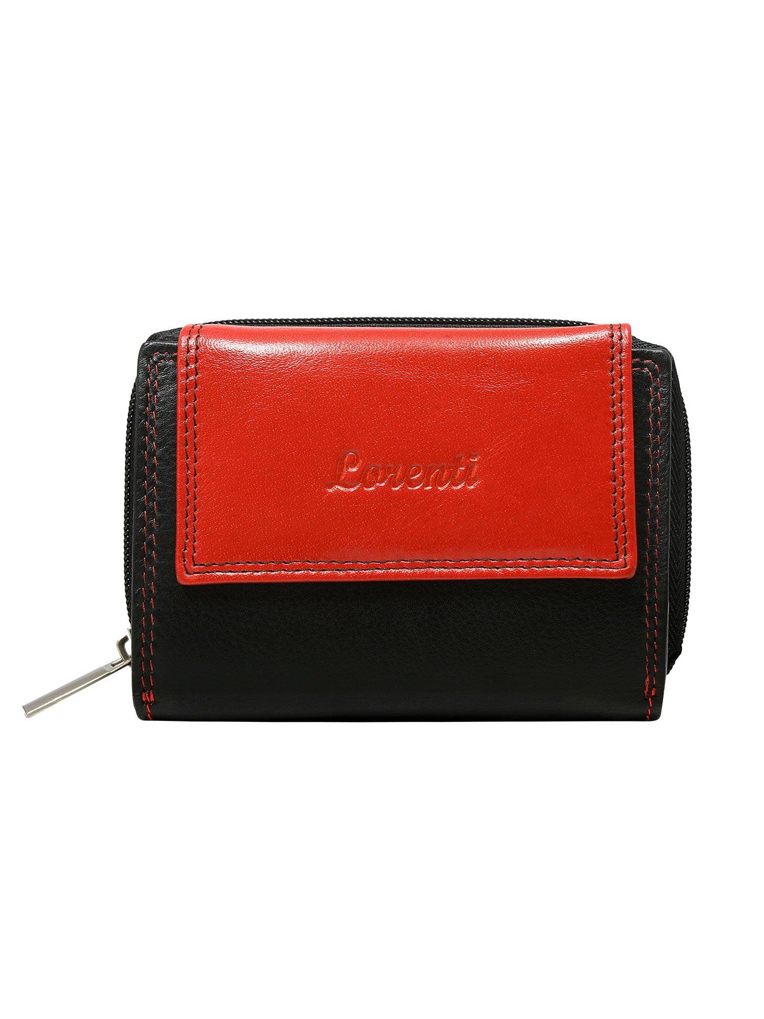 97680a68f5ea4 Czarno-czerwony skórzany portfel damski na napę i suwak - Akcesoria portfele  - sklep eButik.pl