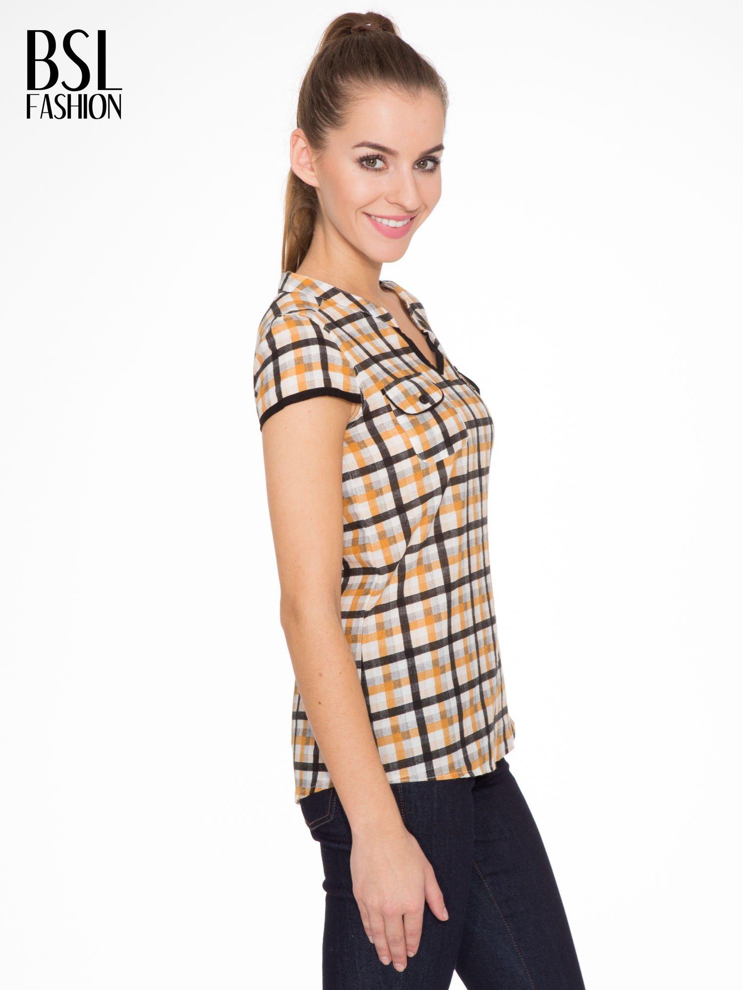 Czarno-pomarańczowa koszula w kratę z krótkim rękawem                                  zdj.                                  3