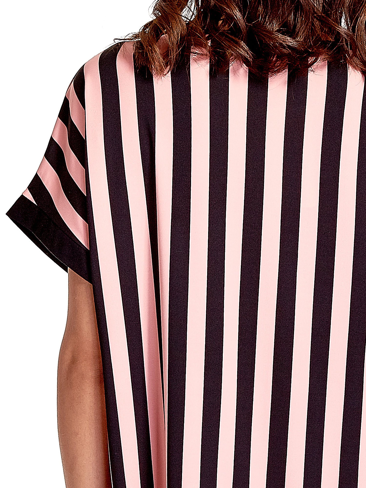 Czarno-różowa tunika w pionowe pasy                                  zdj.                                  5