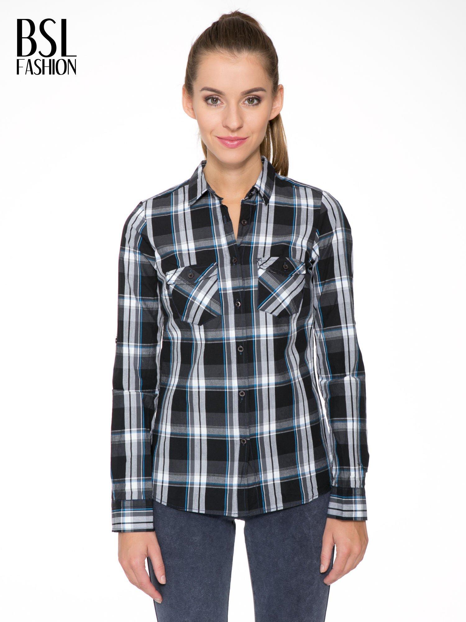 Czarno-turkusowa koszula w kratę z kieszeniami                                  zdj.                                  1