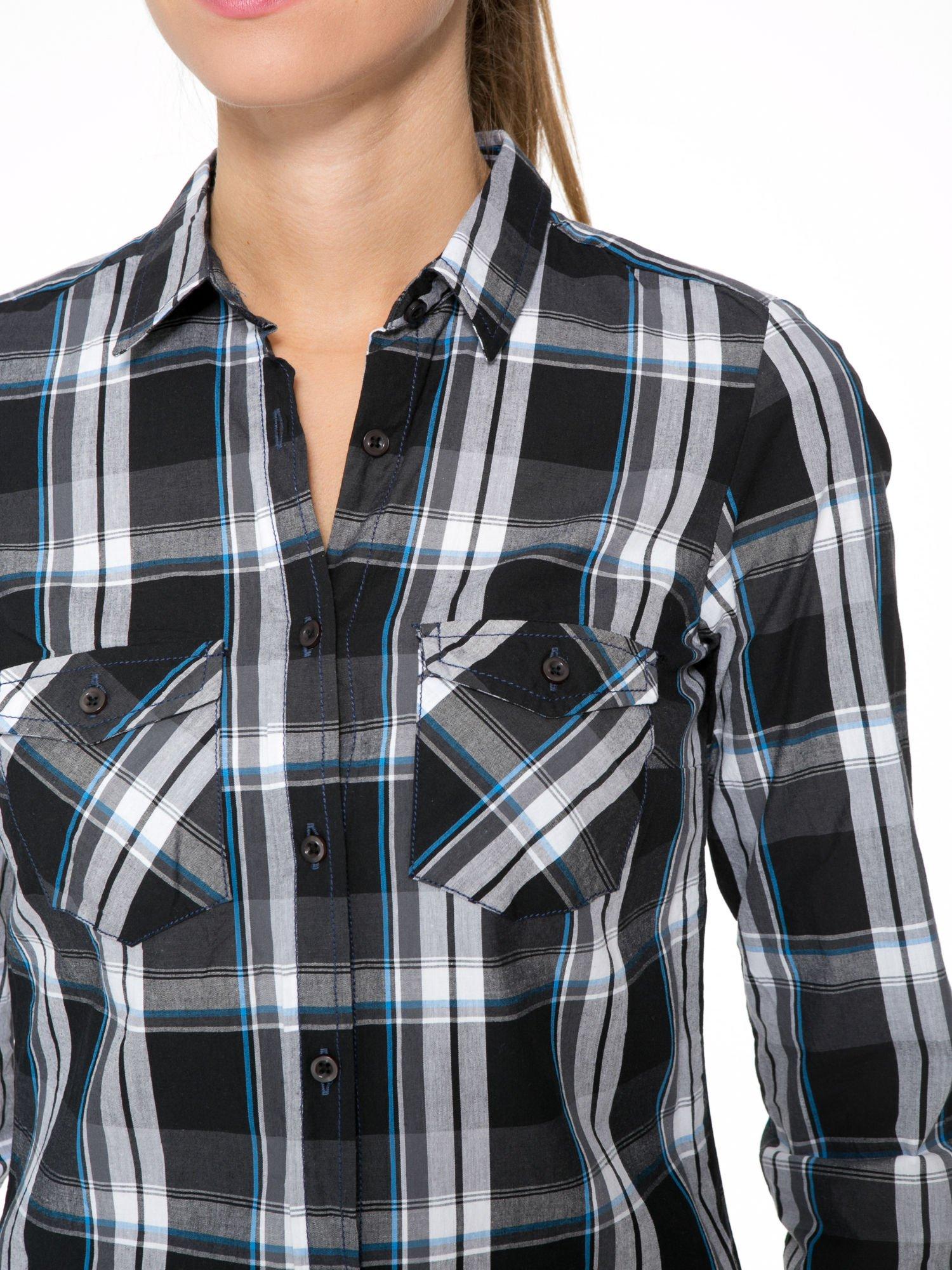Czarno-turkusowa koszula w kratę z kieszeniami                                  zdj.                                  6