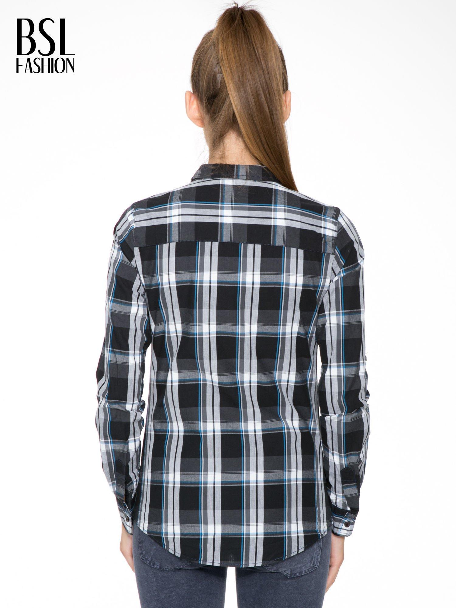 Czarno-turkusowa koszula w kratę z kieszeniami                                  zdj.                                  4