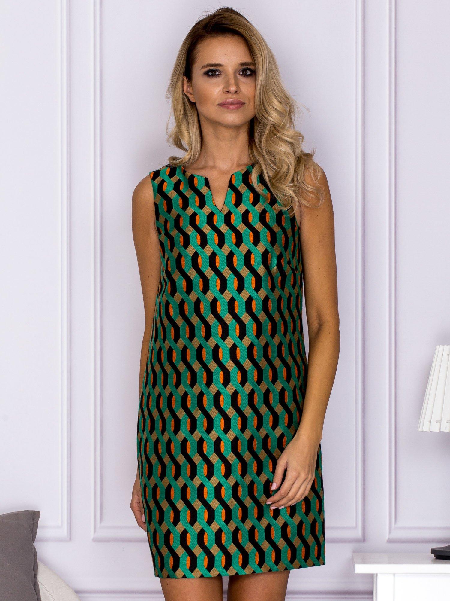 2e34f2ac58 Czarno-zielona sukienka w geometryczne wzory - Sukienka koktajlowa ...