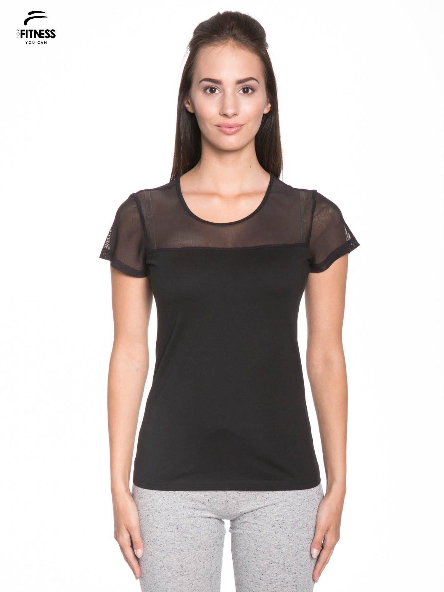Czarny bawełniany t-shirt z siateczką                                  zdj.                                  1