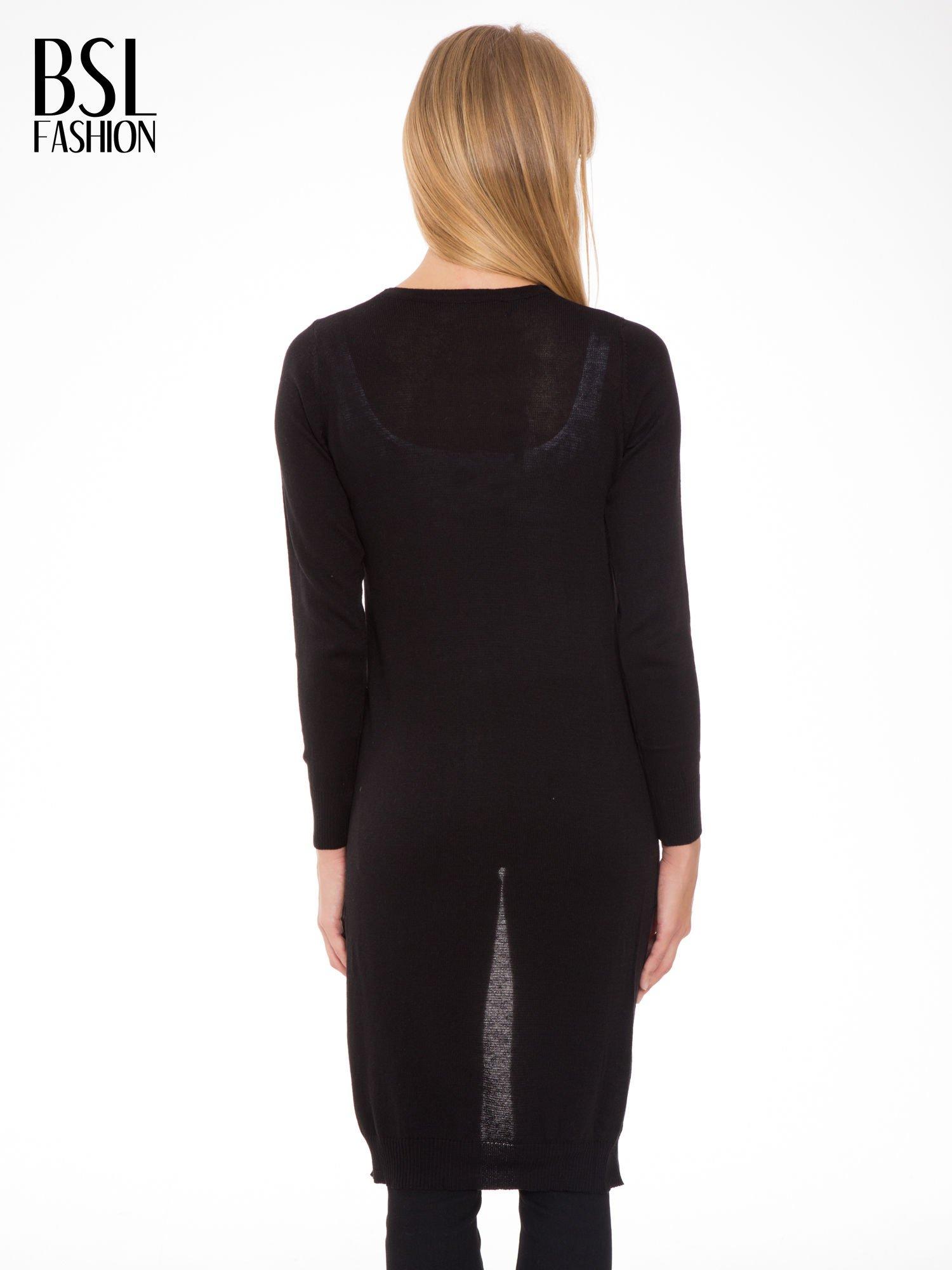 Czarny długi gładki sweter kardigan z kieszeniami                                  zdj.                                  3