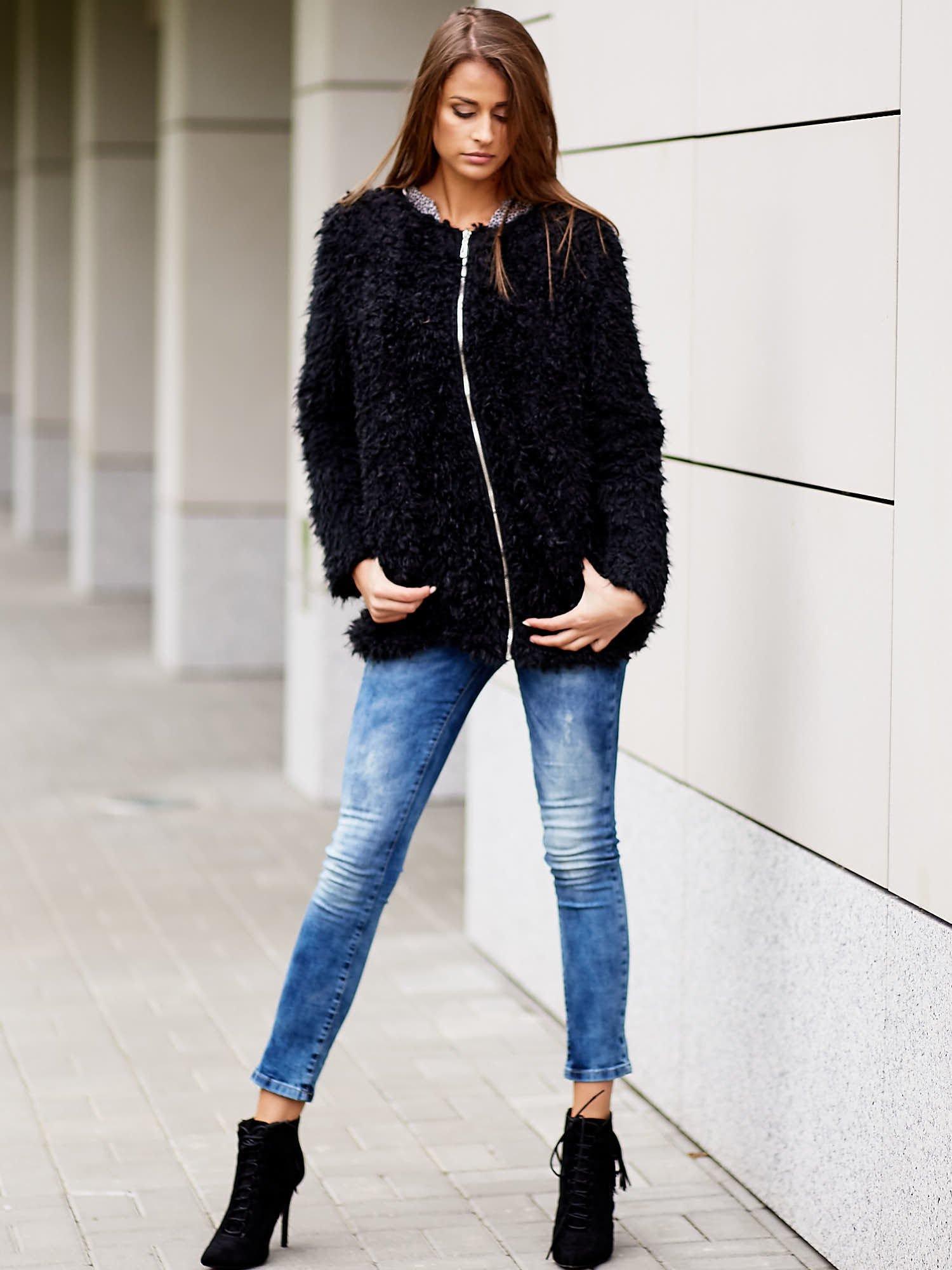 Czarny futrzany sweter kurtka na suwak                                  zdj.                                  11