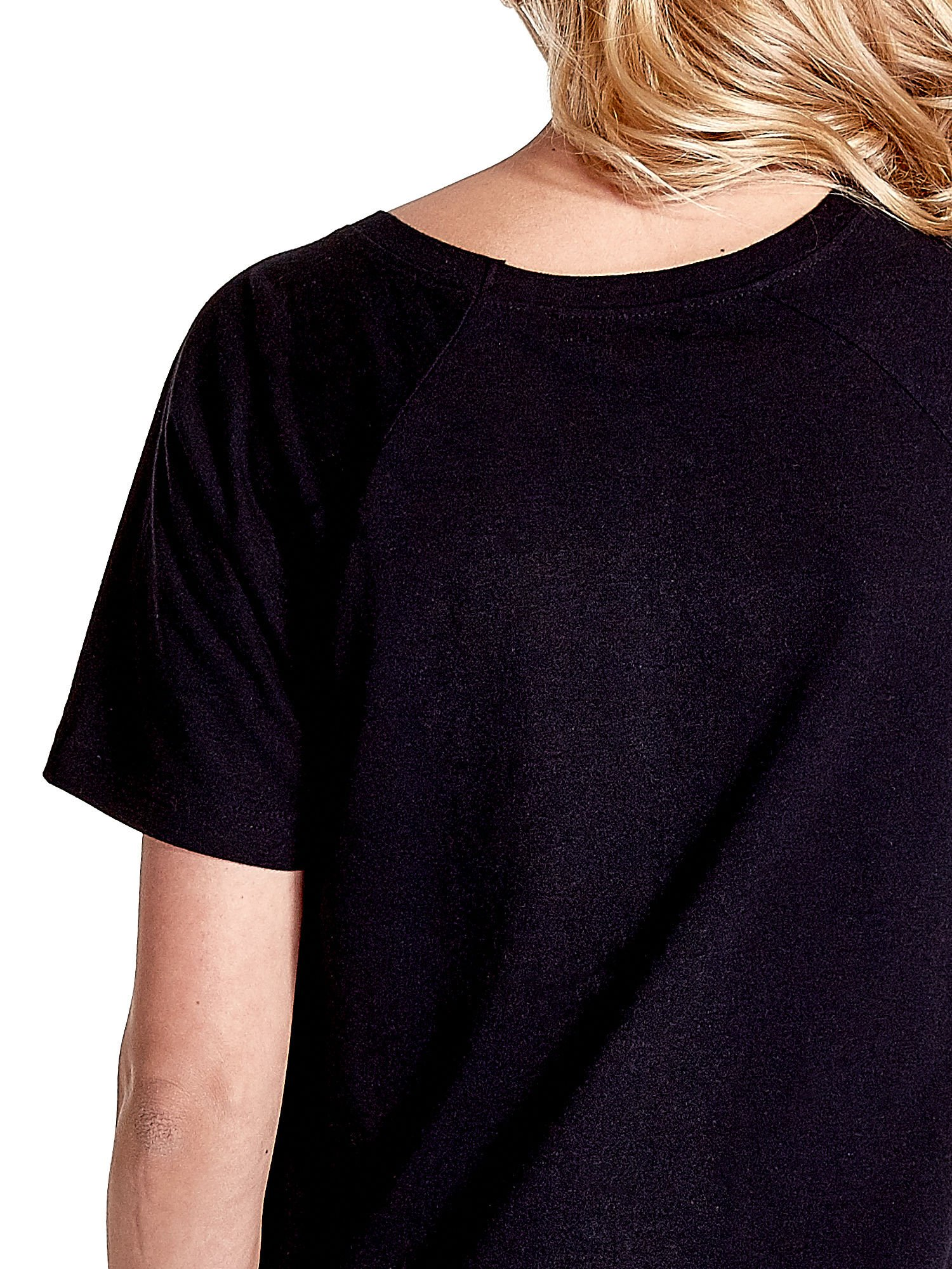 Czarny gładki t-shirt                                  zdj.                                  6