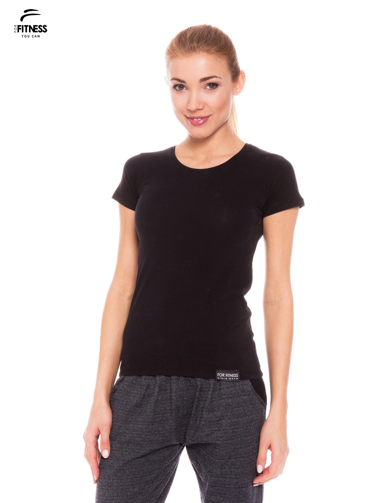 Czarny gładki t-shirt z bawełny                                  zdj.                                  1