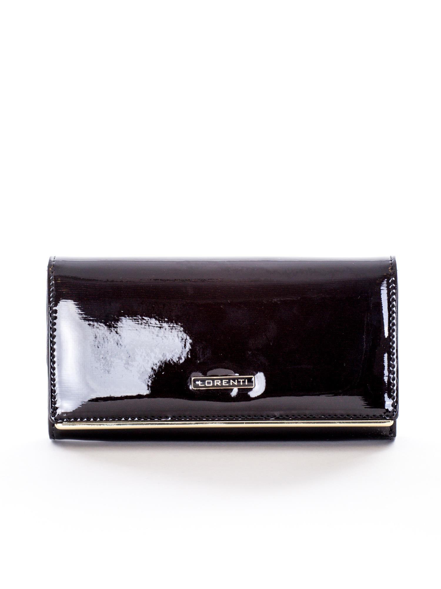 9dbc04555fd73 Czarny lakierowany skórzany portfel damski - Akcesoria portfele ...