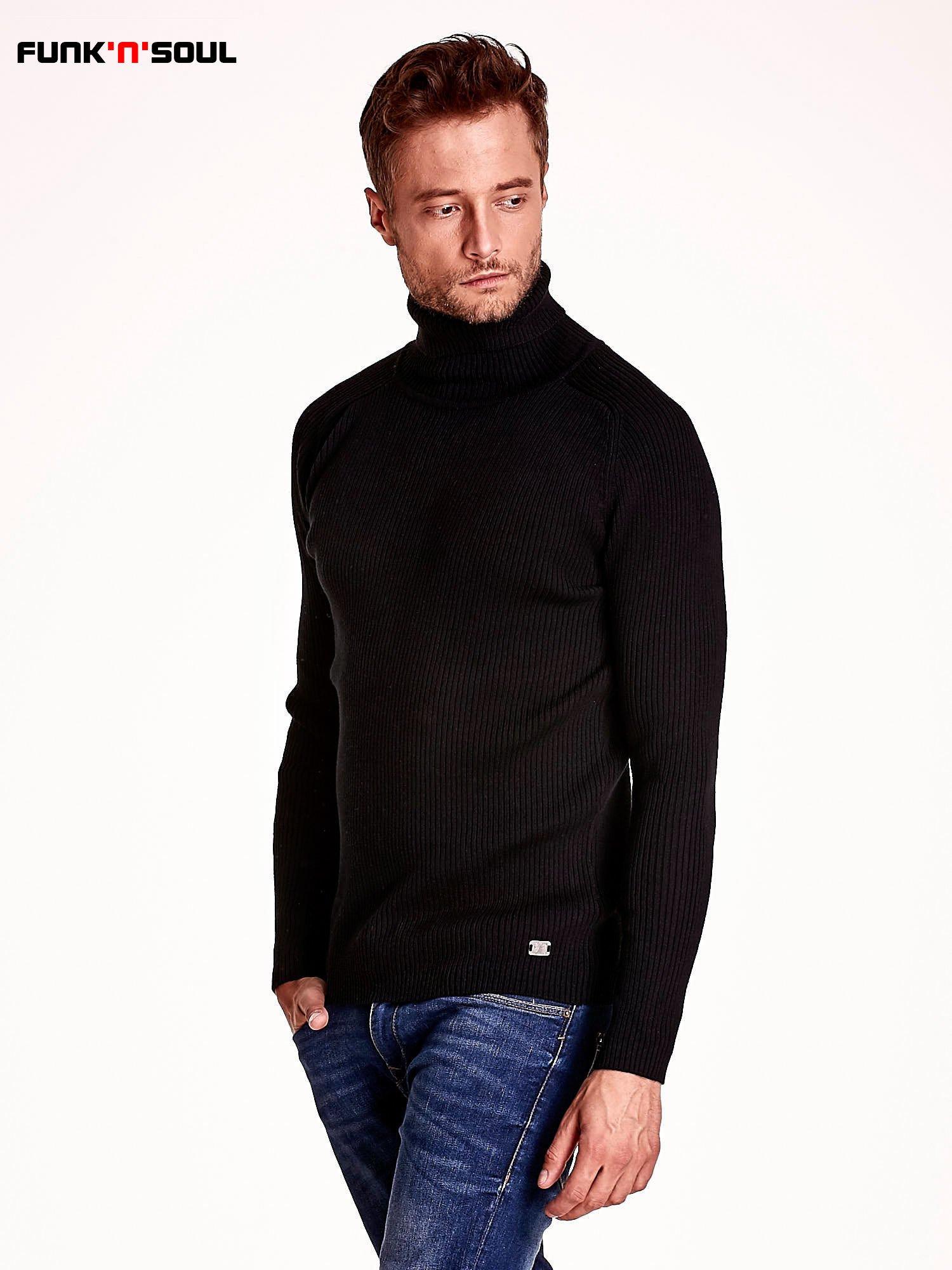 Czarny męski sweter z golfem FUNK N SOUL                                  zdj.                                  4