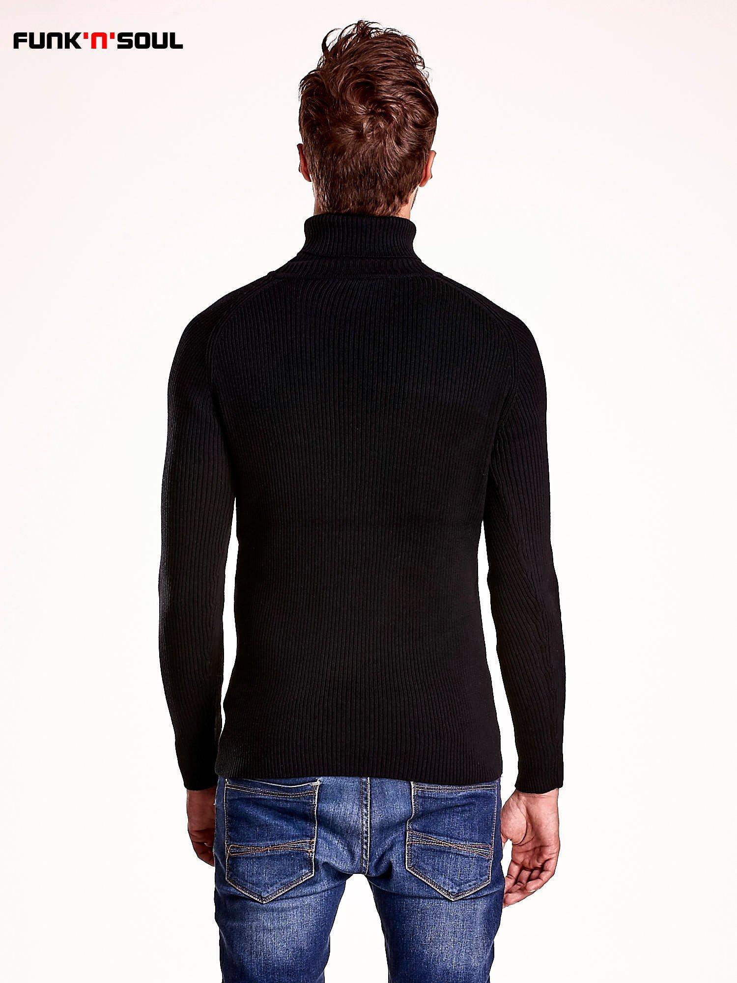 Czarny męski sweter z golfem FUNK N SOUL                                  zdj.                                  5