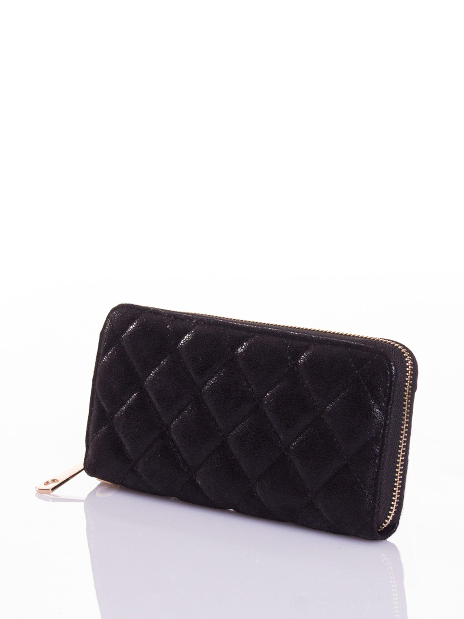 Czarny pikowany portfel                                  zdj.                                  2
