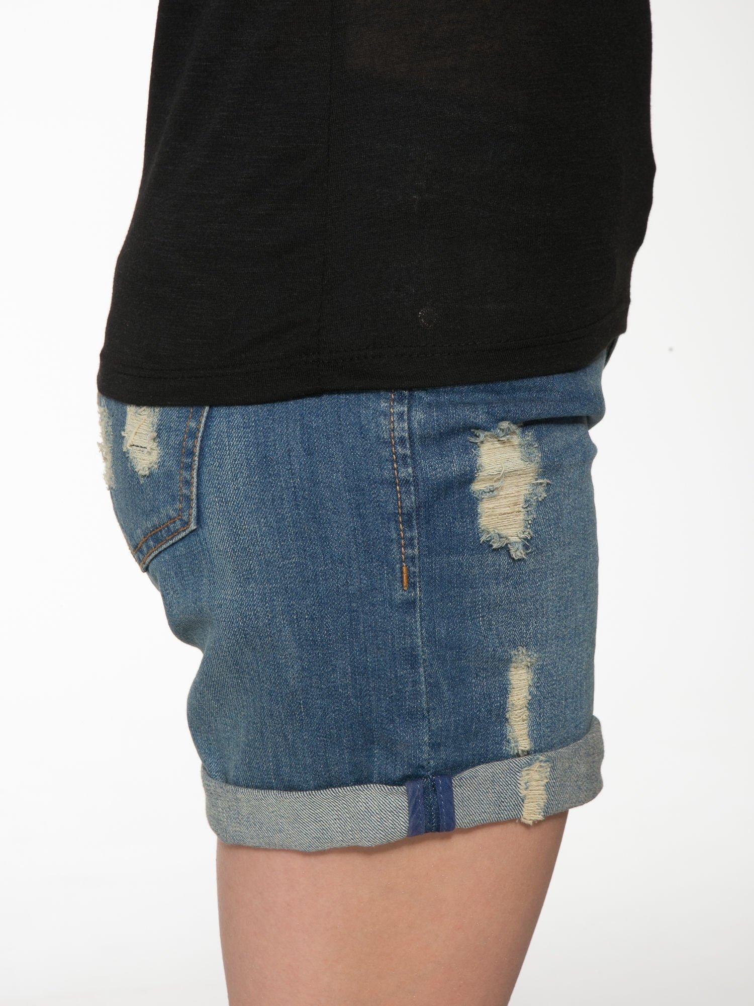 Czarny półtransparentny t-shirt basic                                  zdj.                                  8