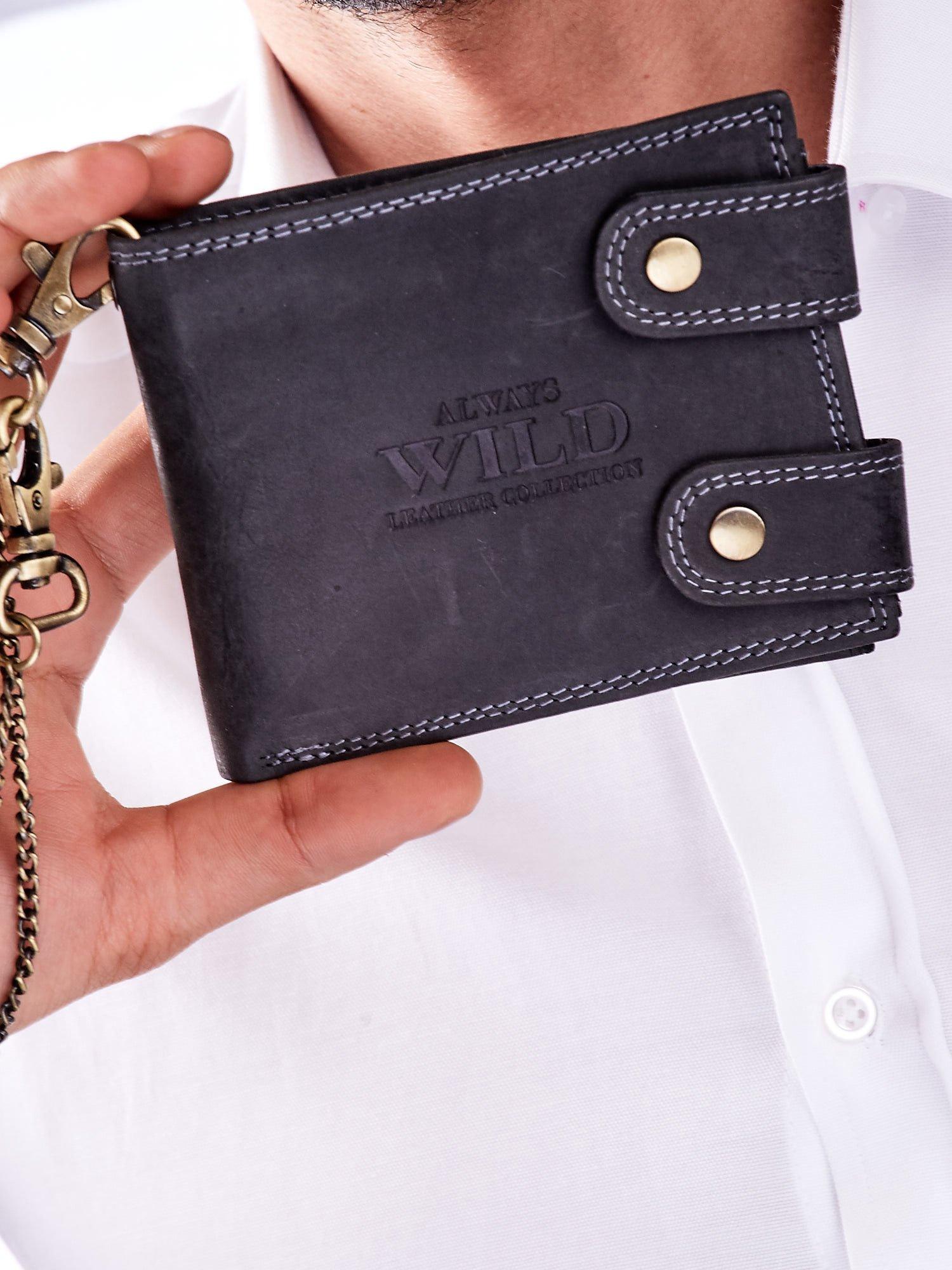 c17c49ae87b5d Czarny portfel męski skórzany z łańcuszkiem - Mężczyźni portfel ...