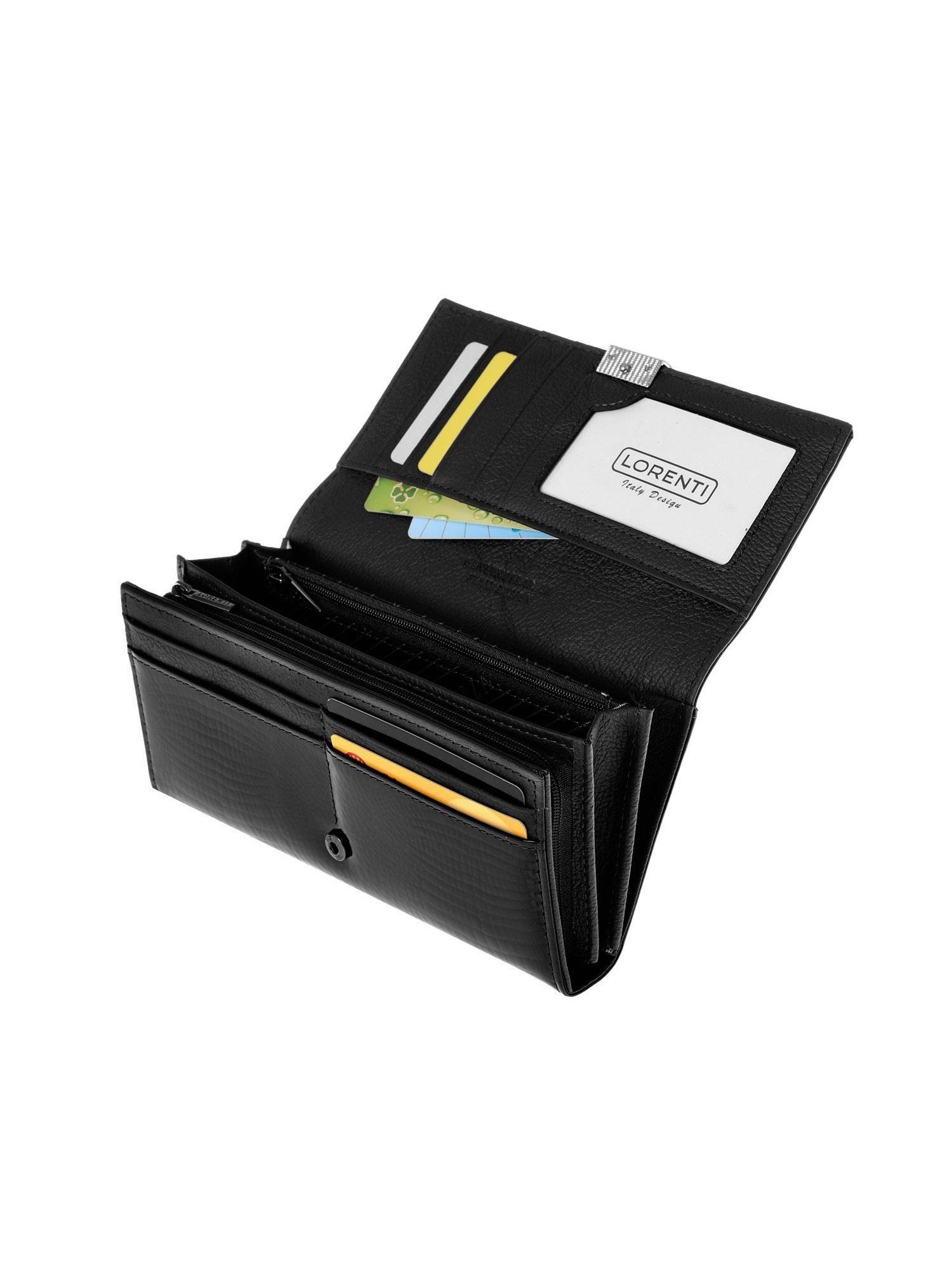03a0c2e4d621c Czarny portfel skórzany z tłoczeniem we wzór skóry krokodyla - Akcesoria  portfele - sklep eButik.pl