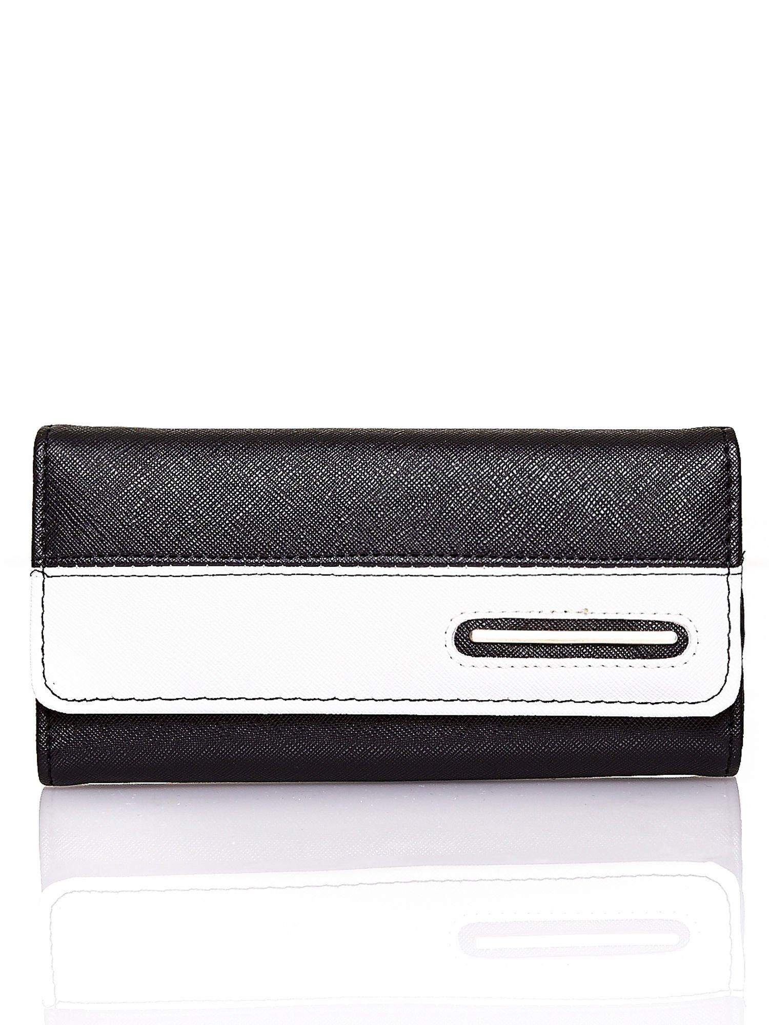 Czarny portfel z białym wykończeniem                                  zdj.                                  1