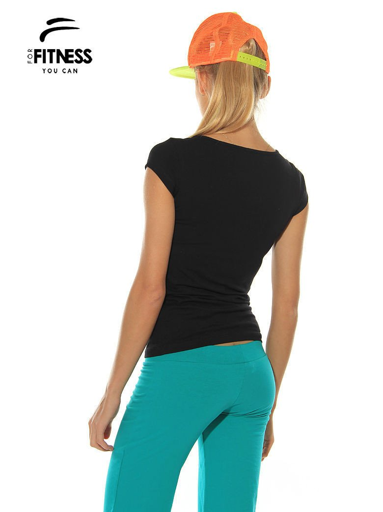 Czarny prosty t-shirt For Fitness                                  zdj.                                  2