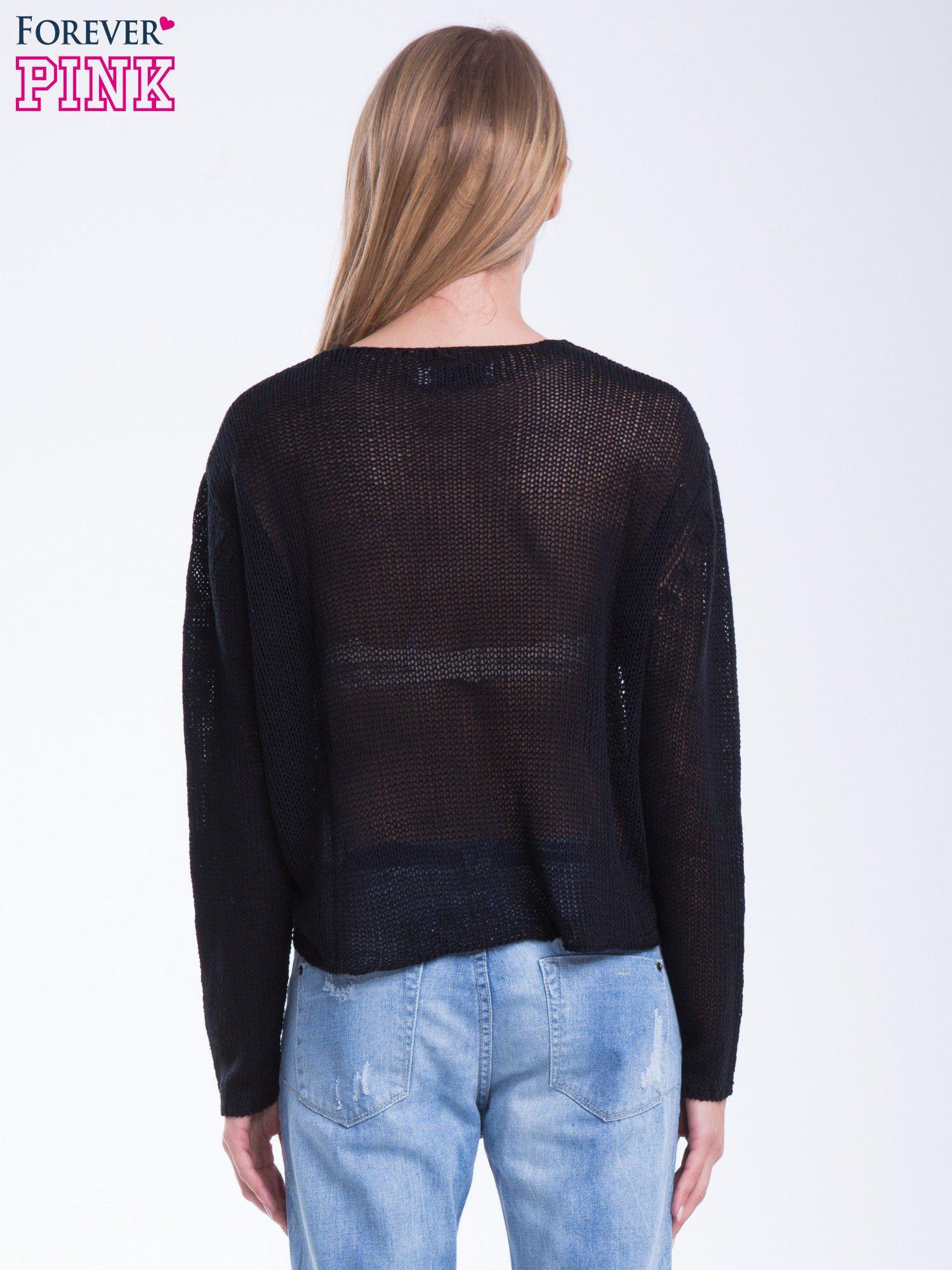 Czarny siatkowy sweter typu crop top                                  zdj.                                  4