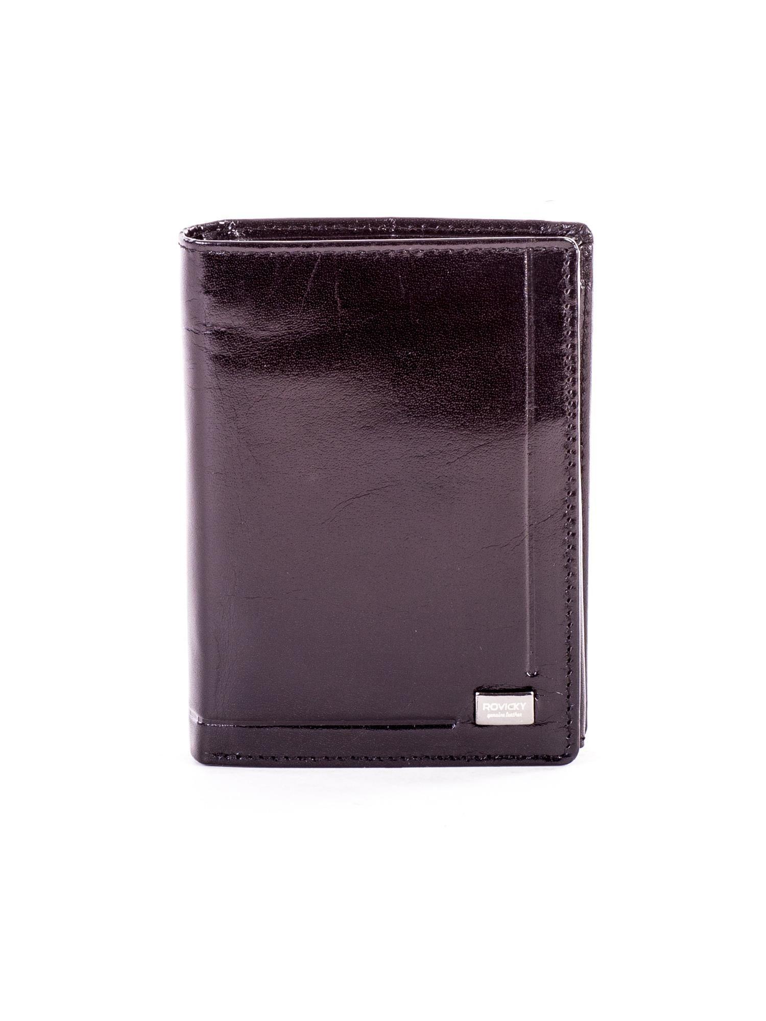 4b0f2421d2ea0 Czarny skórzany portfel dla mężczyzny z geometrycznymi tłoczeniami ...