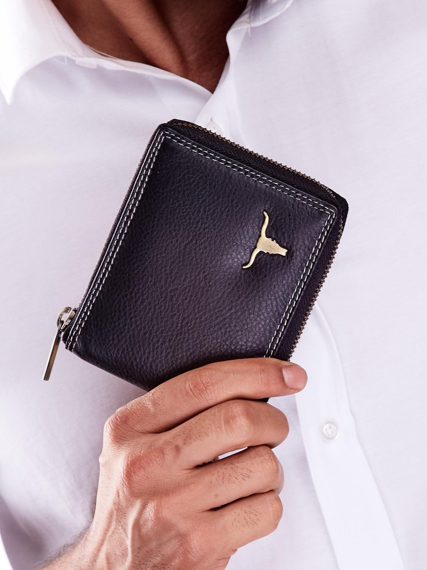 6ade5861eb313 Czarny skórzany portfel męski zapinany na suwak - Mężczyźni portfel ...