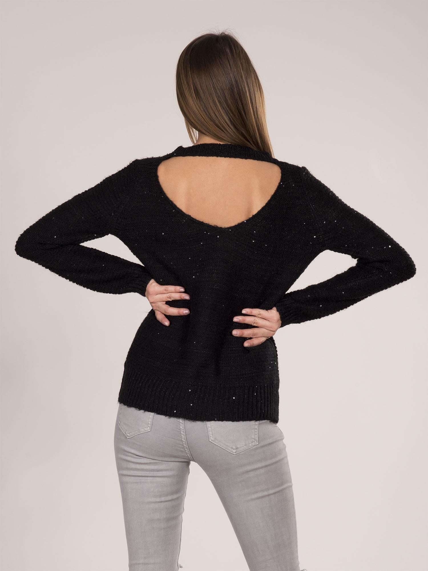Masywnie Czarny sweter z cekinami - Sweter klasyczny - sklep eButik.pl FX25