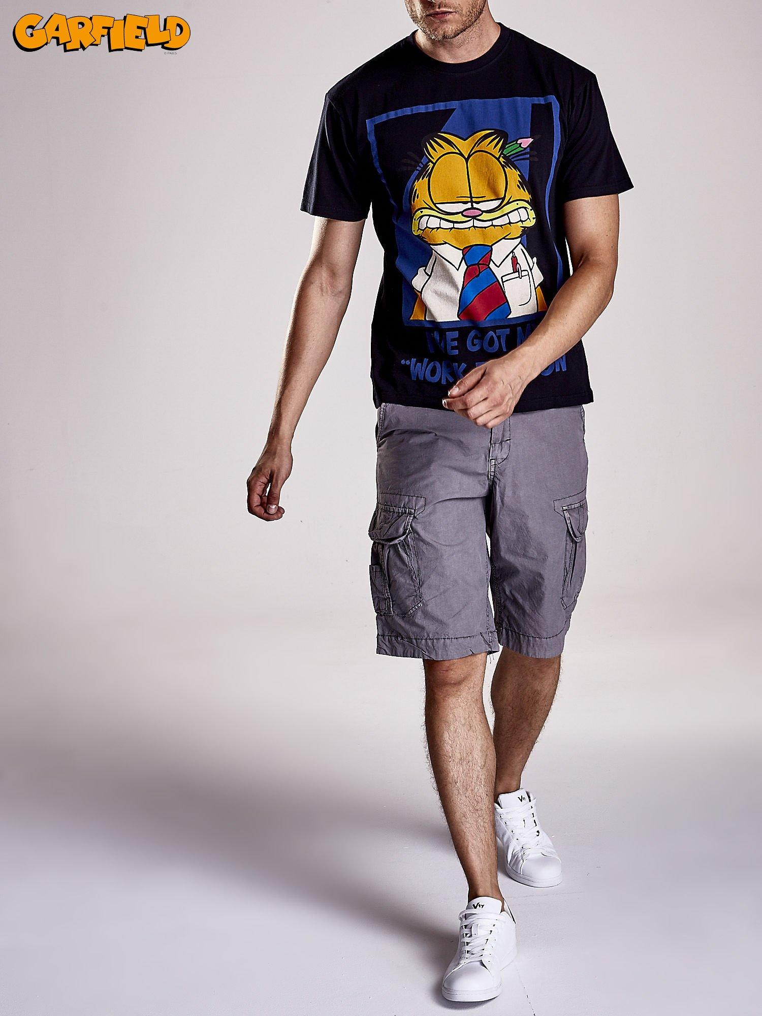 Czarny t-shirt męski GARFIELD                                  zdj.                                  7
