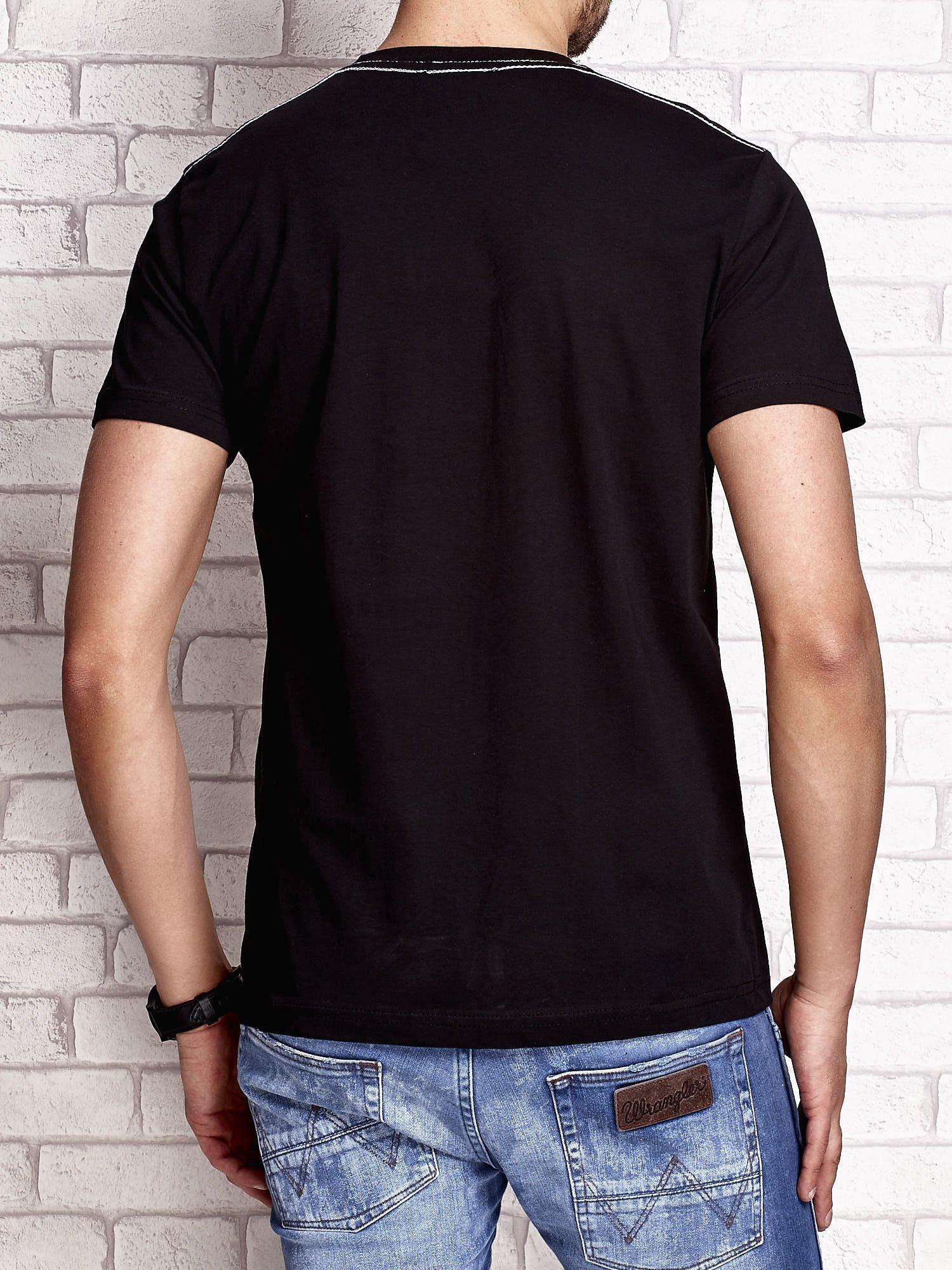 Czarny t-shirt męski z nadrukiem napisów MIAMI FLORIDA 1955                                  zdj.                                  2