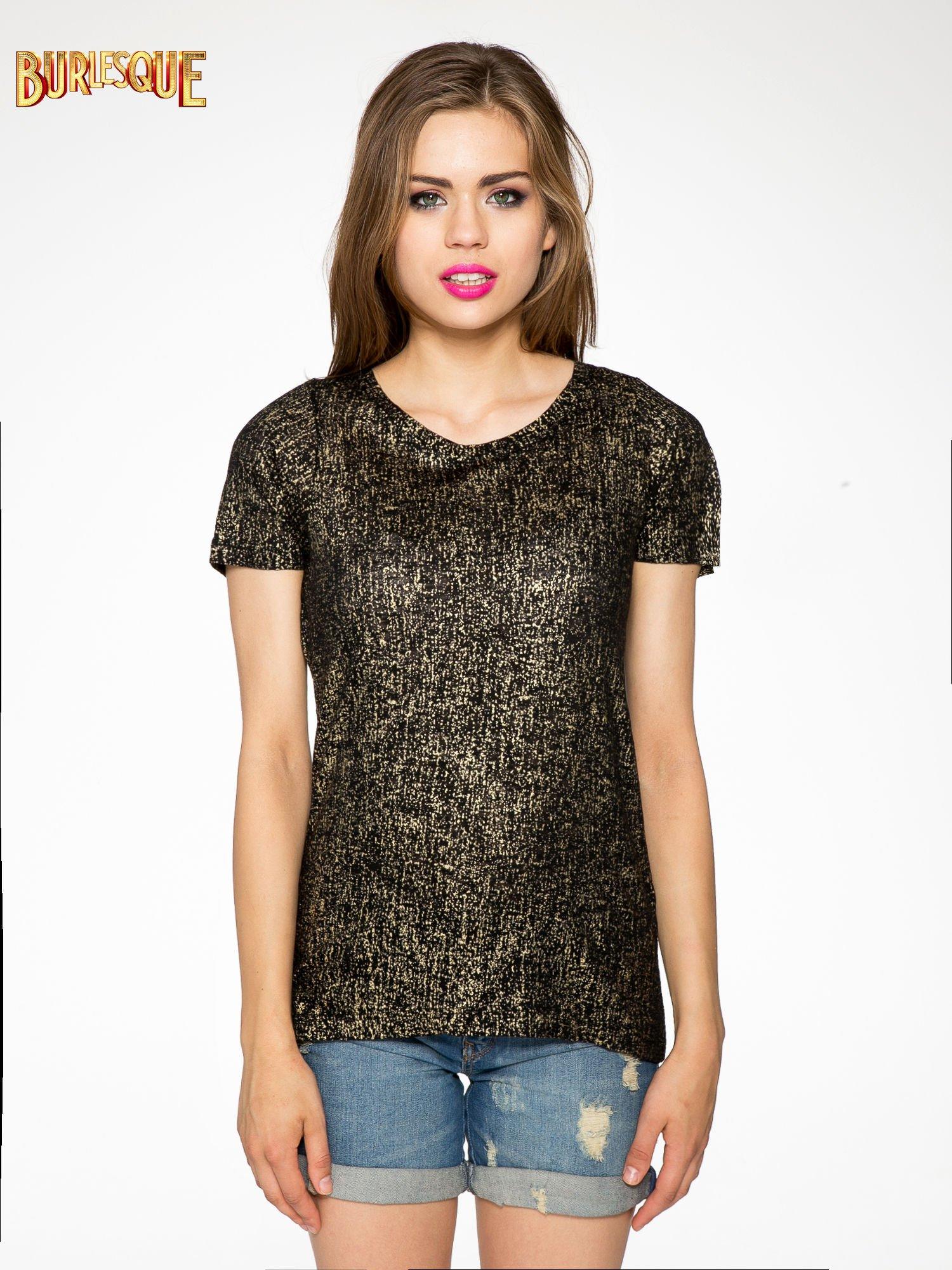 Czarny t-shirt w złote plamki                                  zdj.                                  9