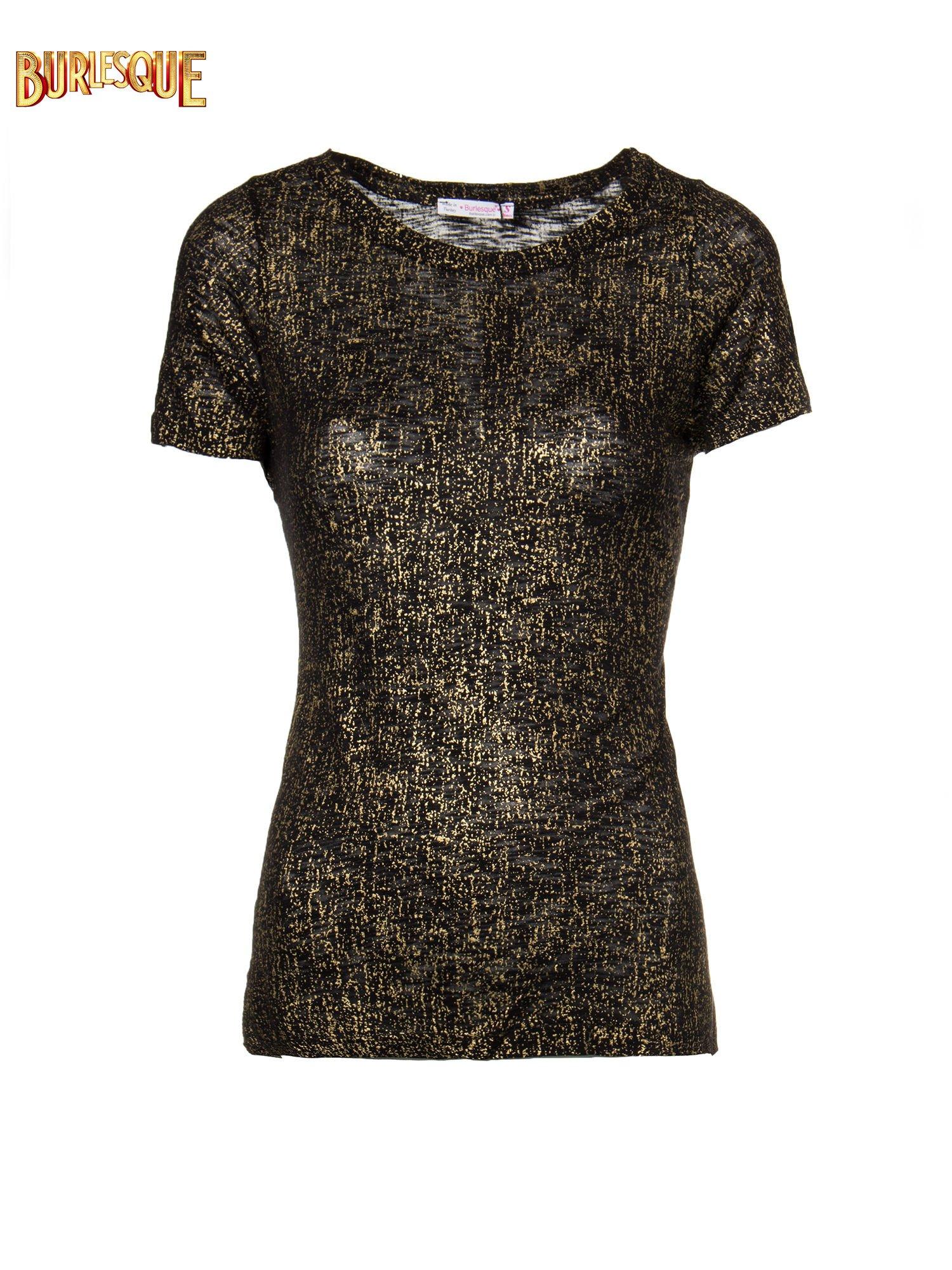 Czarny t-shirt w złote plamki                                  zdj.                                  1