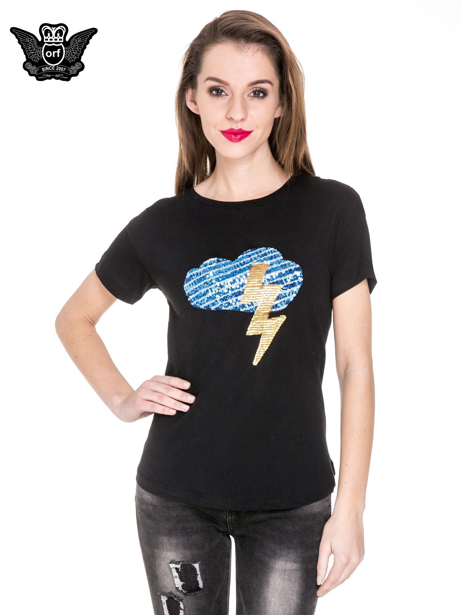 Czarny t-shirt z aplikacją burzy z cekinów                                  zdj.                                  1