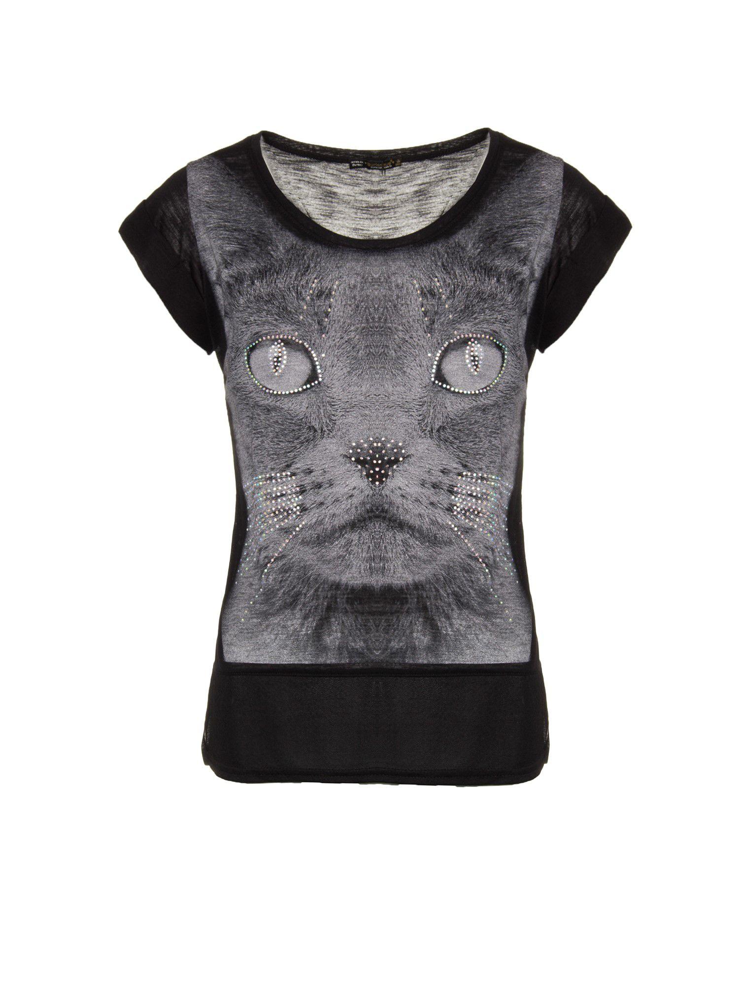 Czarny t-shirt z grafiką kota zdobioną dżetami                                  zdj.                                  1