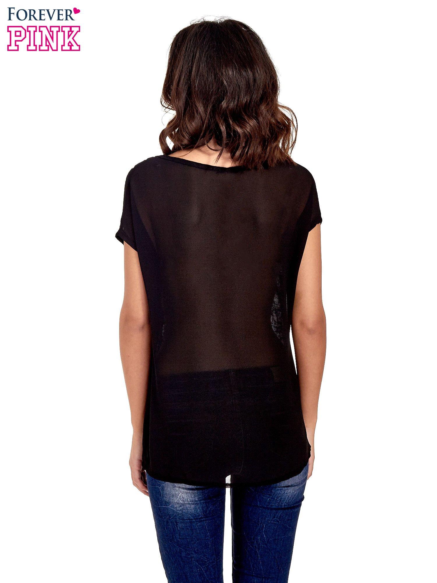 Czarny t-shirt z kryształkami                                  zdj.                                  4