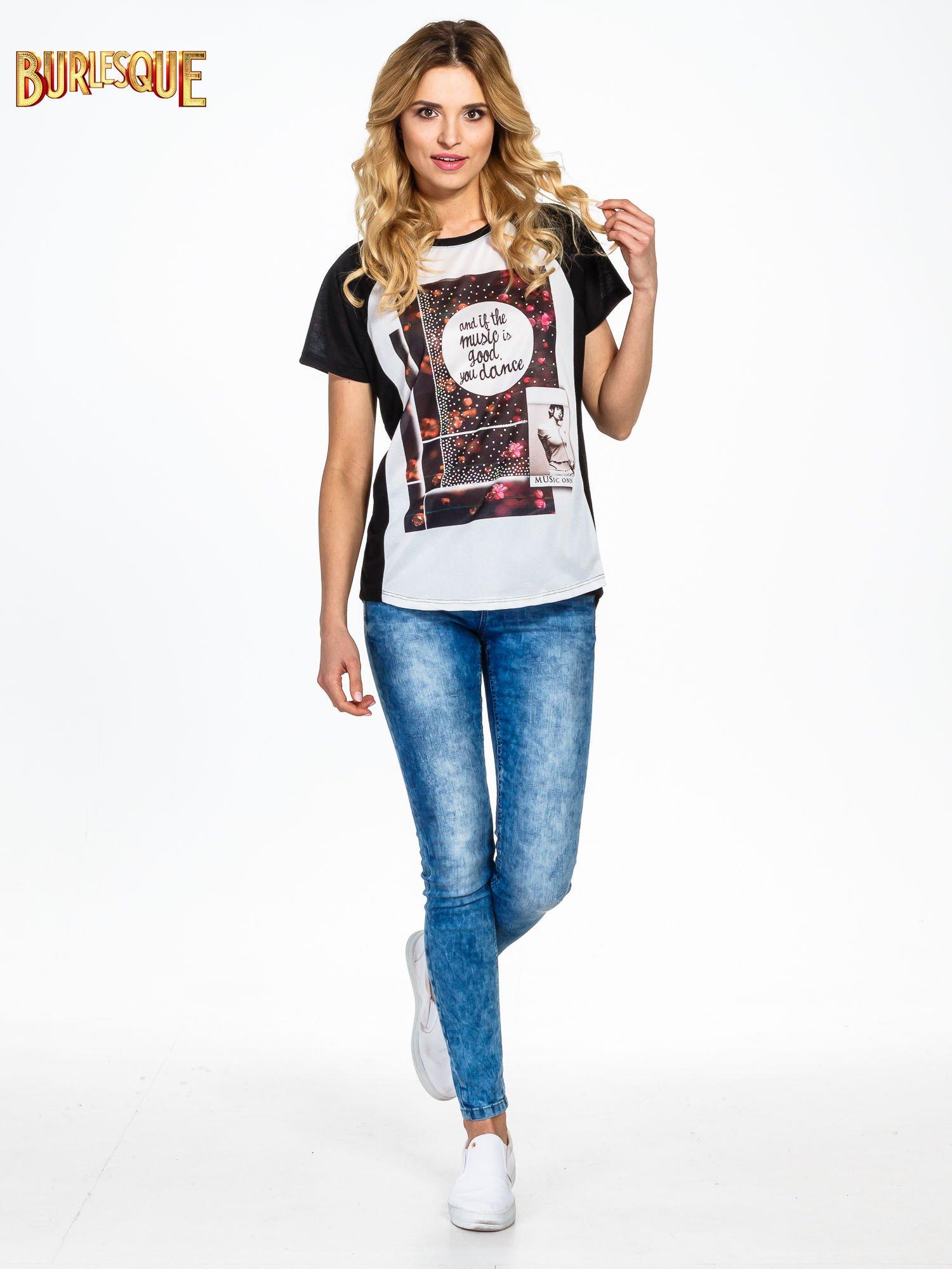 Czarny  t-shirt z motywem muzycznym                                  zdj.                                  6