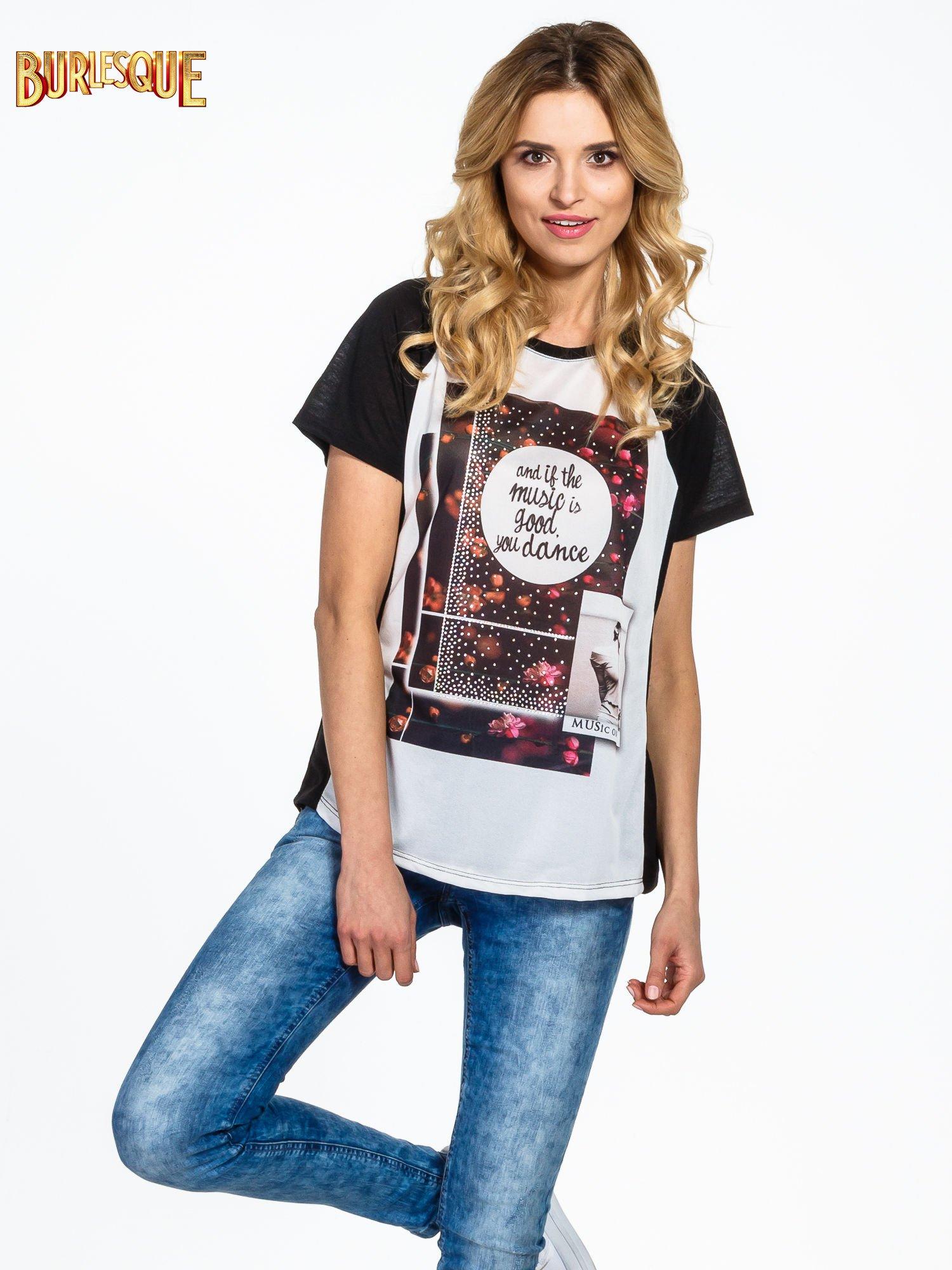 Czarny  t-shirt z motywem muzycznym                                  zdj.                                  1