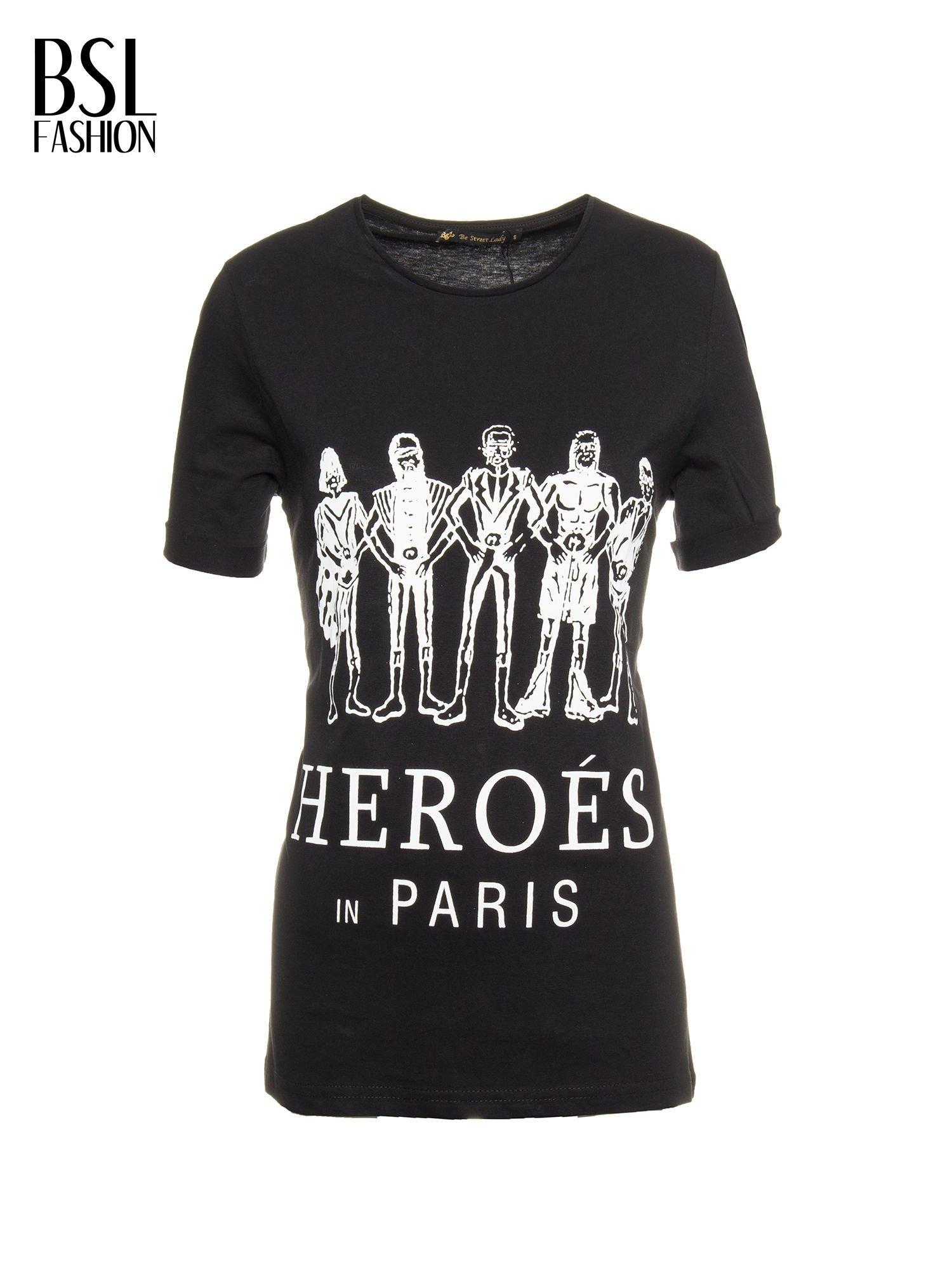 Czarny t-shirt z nadrukiem HEROÉS IN PARIS                                  zdj.                                  2