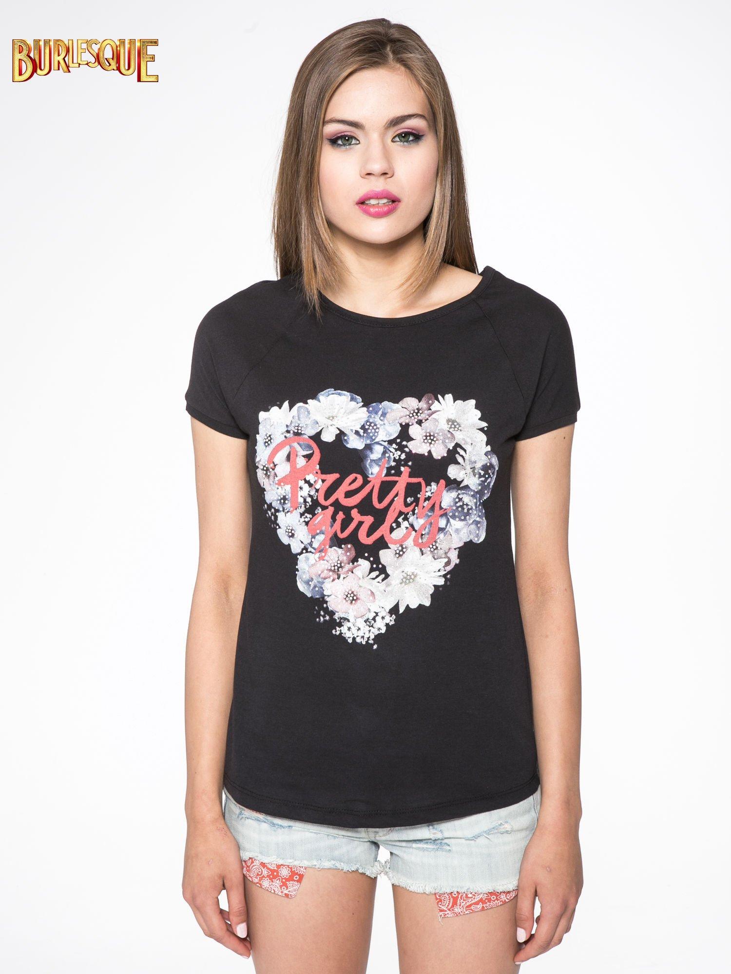 Czarny t-shirt z nadrukiem kwiatowym PRETTY GIRL                                  zdj.                                  9