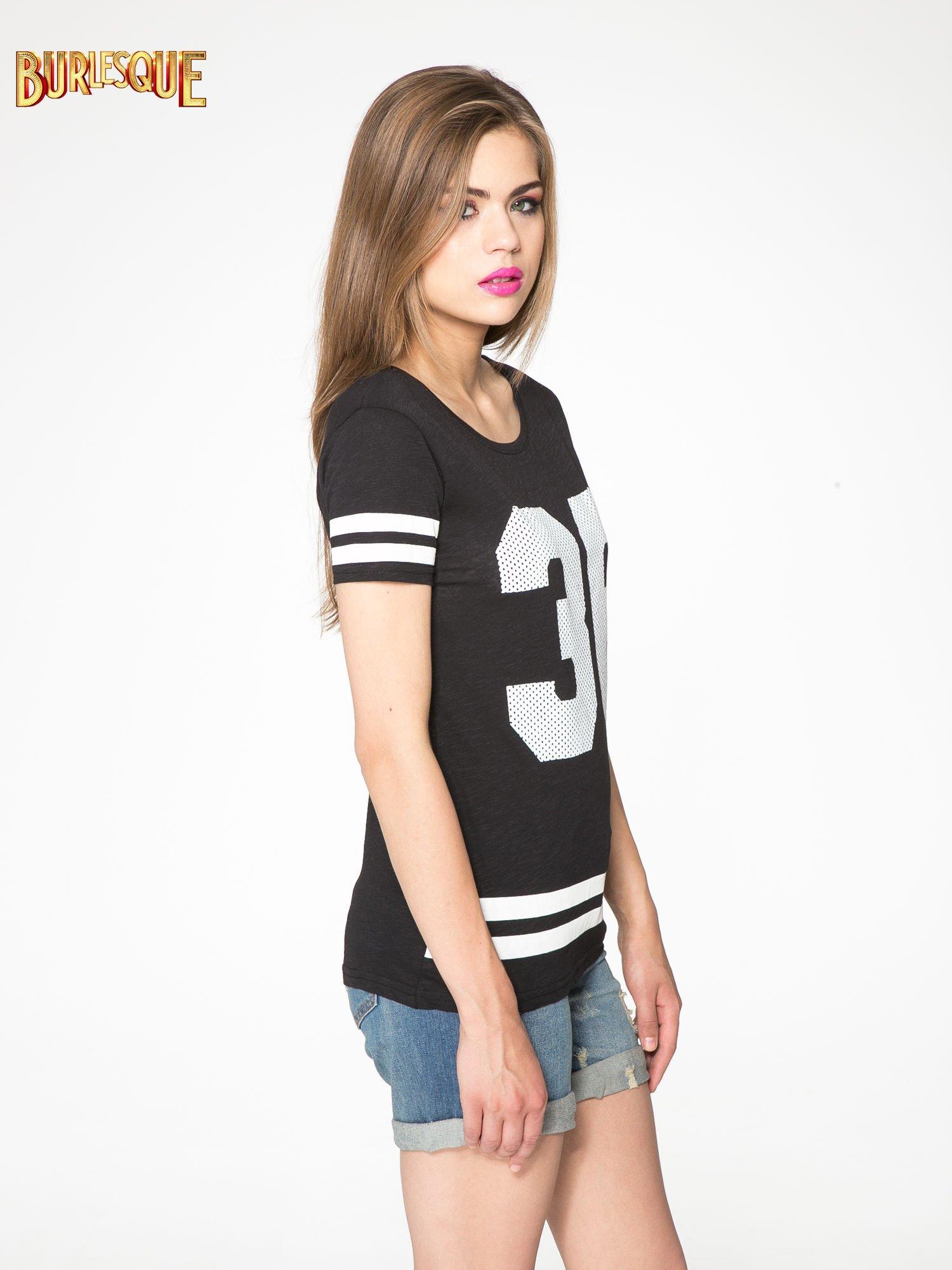 Czarny t-shirt z nadrukiem numerycznym w stylu baseball                                  zdj.                                  3